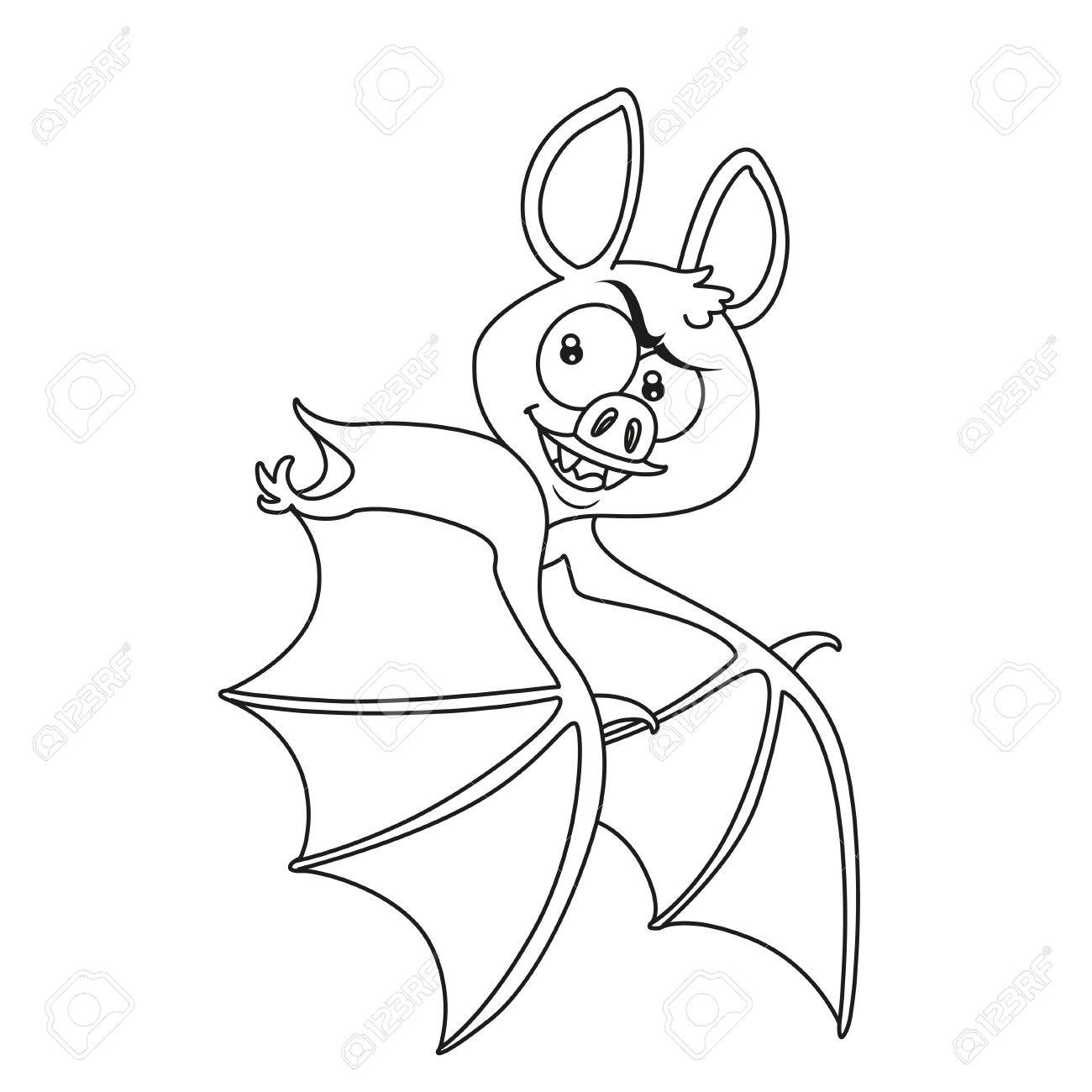 cute halloween bat flying outlined for coloring page stock vector 84953611