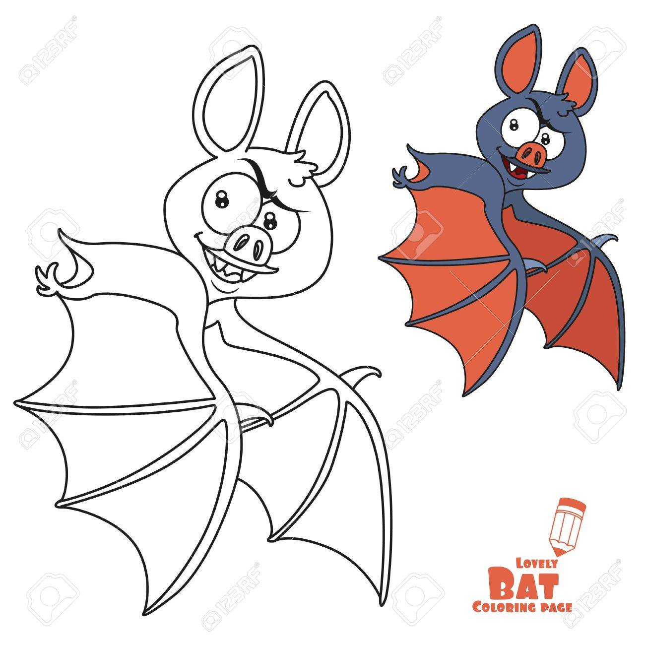 Cute Halloween Bat Flying Color And Outlined For Coloring Page ...