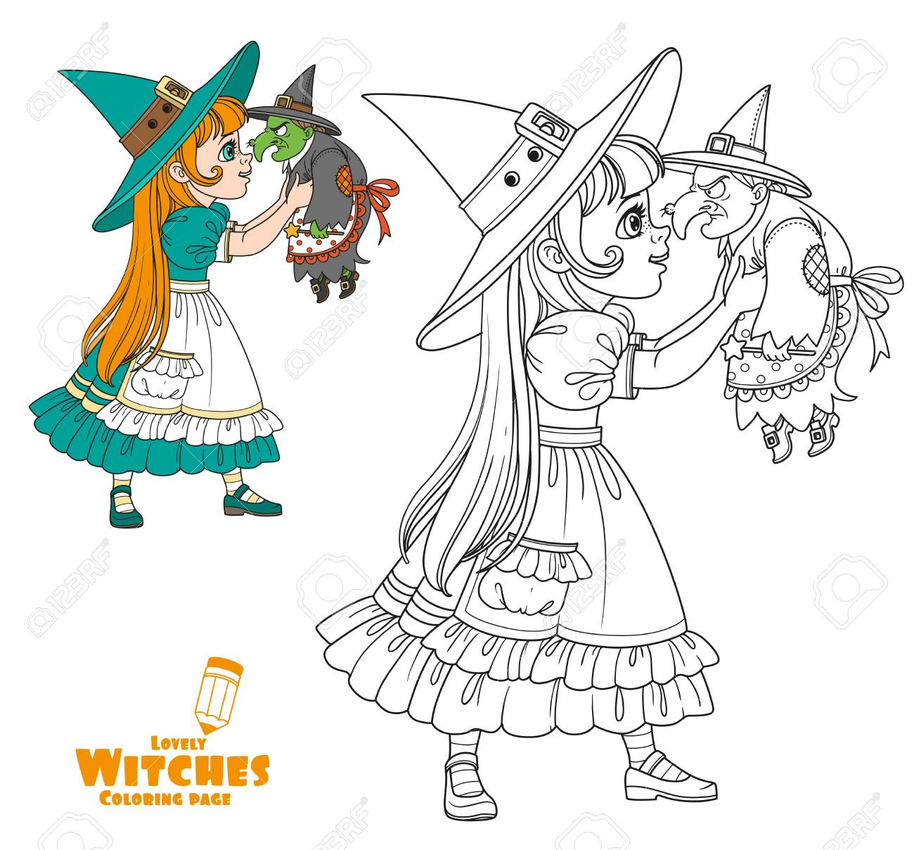 cute girl in witch costume holding a doll old witch color and outlined for coloring page - Witch Pictures To Color