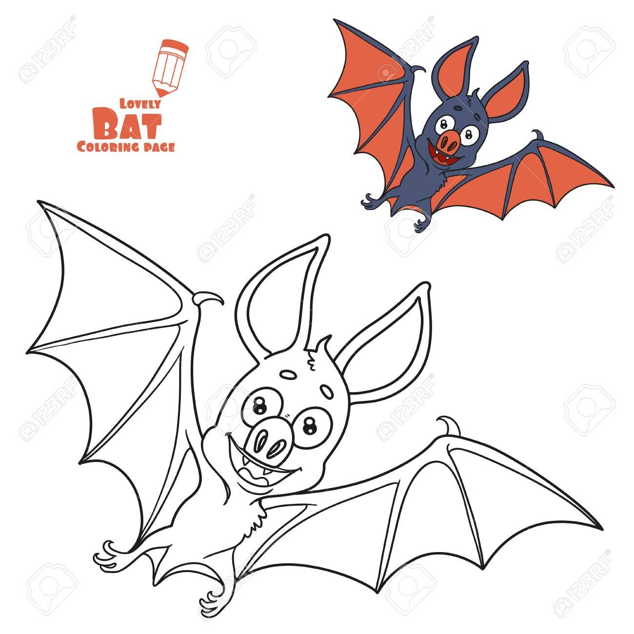Cute Halloween Fledermaus Farbe Und Skizziert F R Ausmalbilder