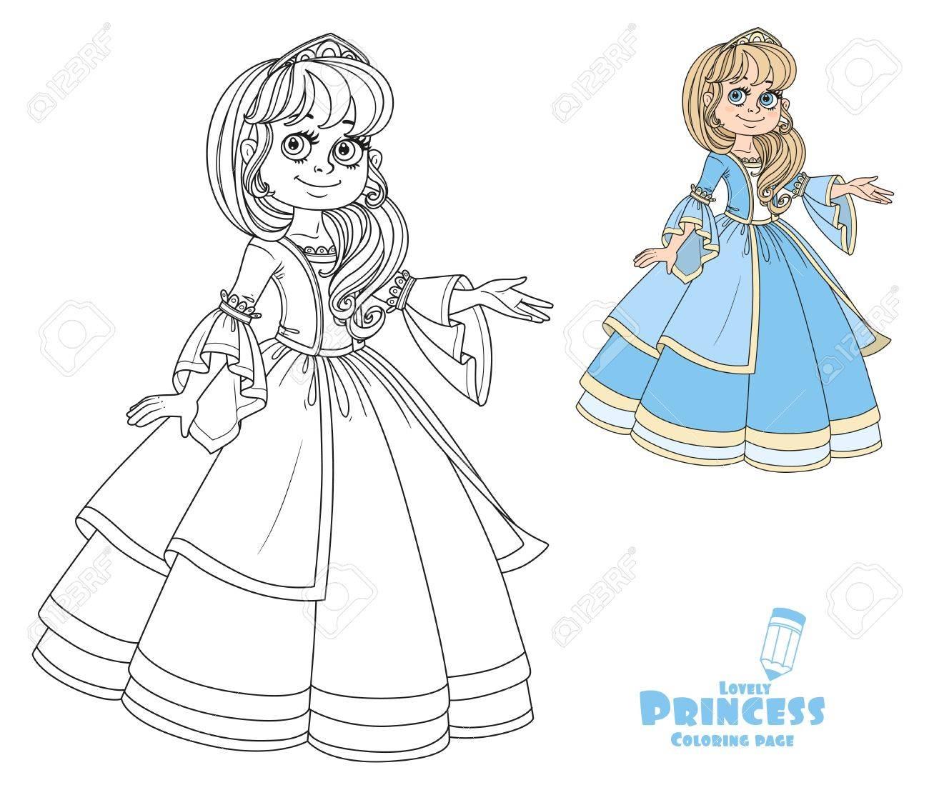 Princesa Linda Adolescente En Vestido Exuberante Y Tiara Muestra ...