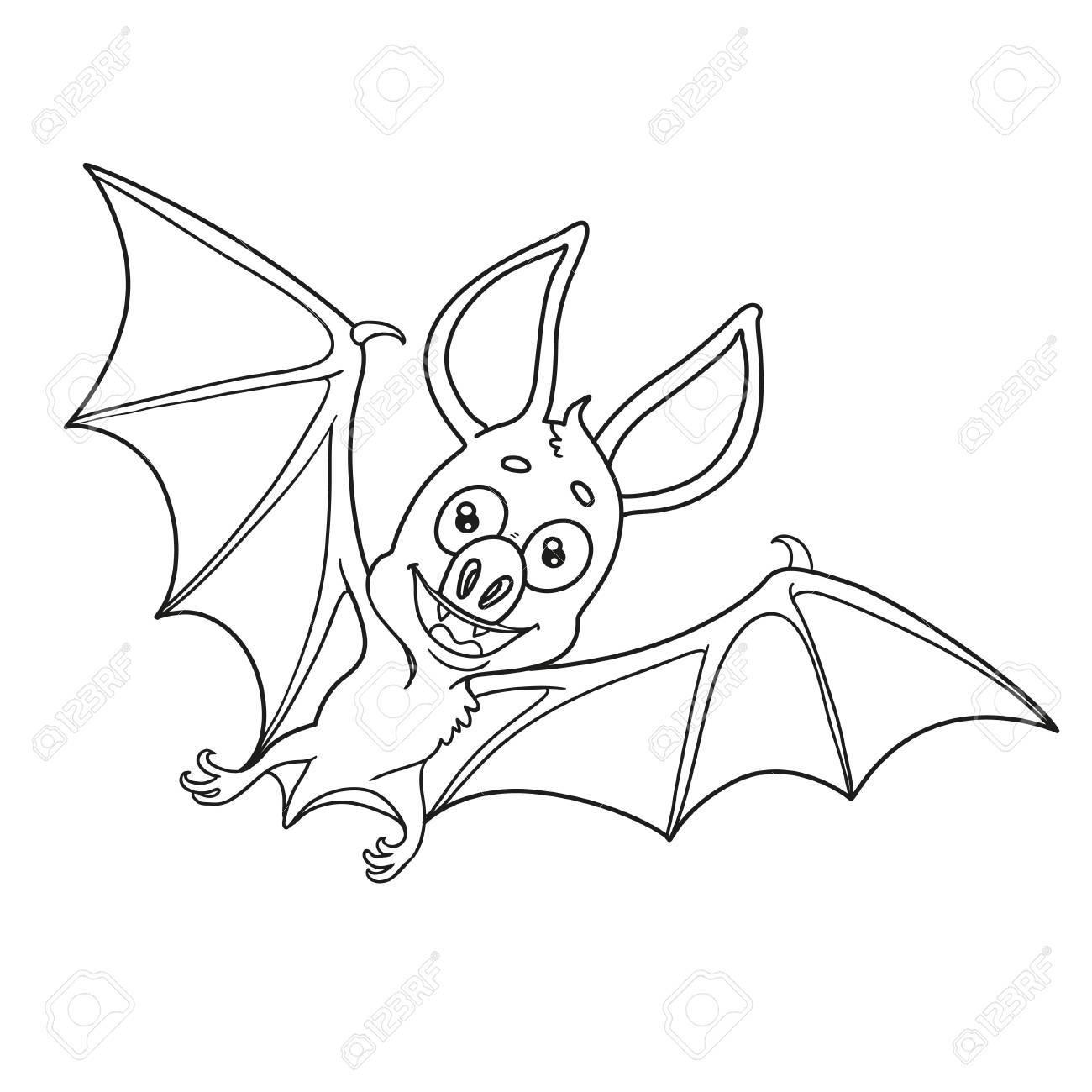 Lindo Murciélago De Halloween Descrito Para Colorear Página ...