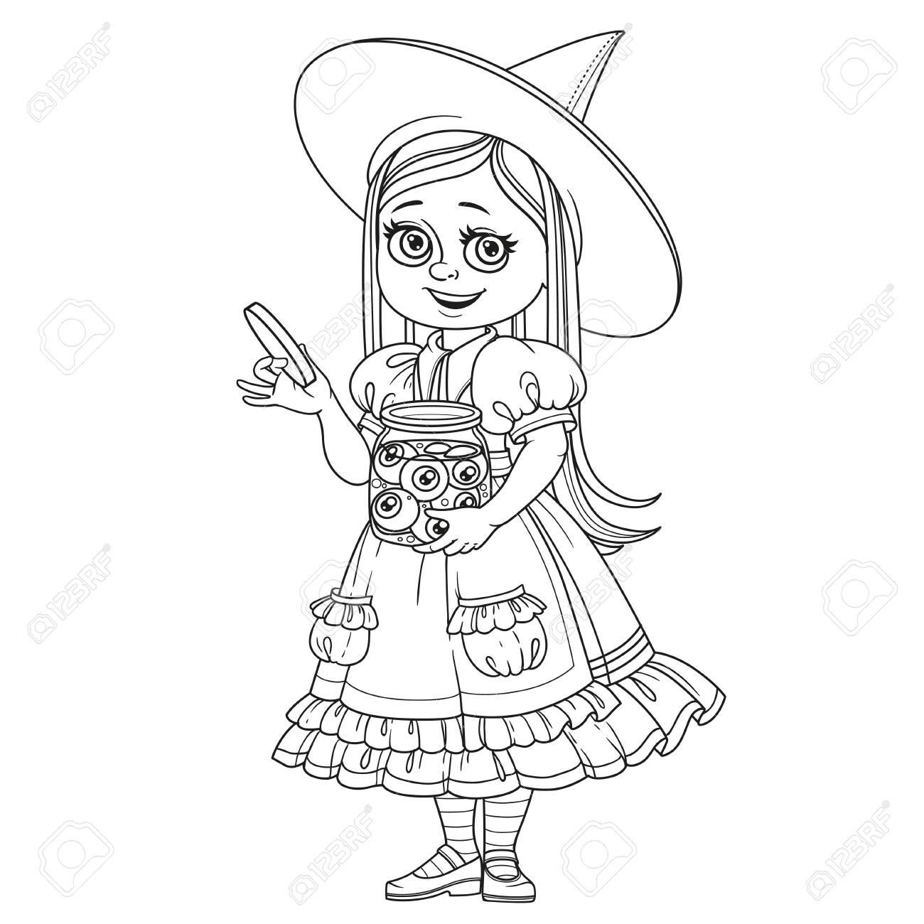 Nettes Mädchen In Hexenkostüm Hält Ein Großes Glas Mit Augen Für