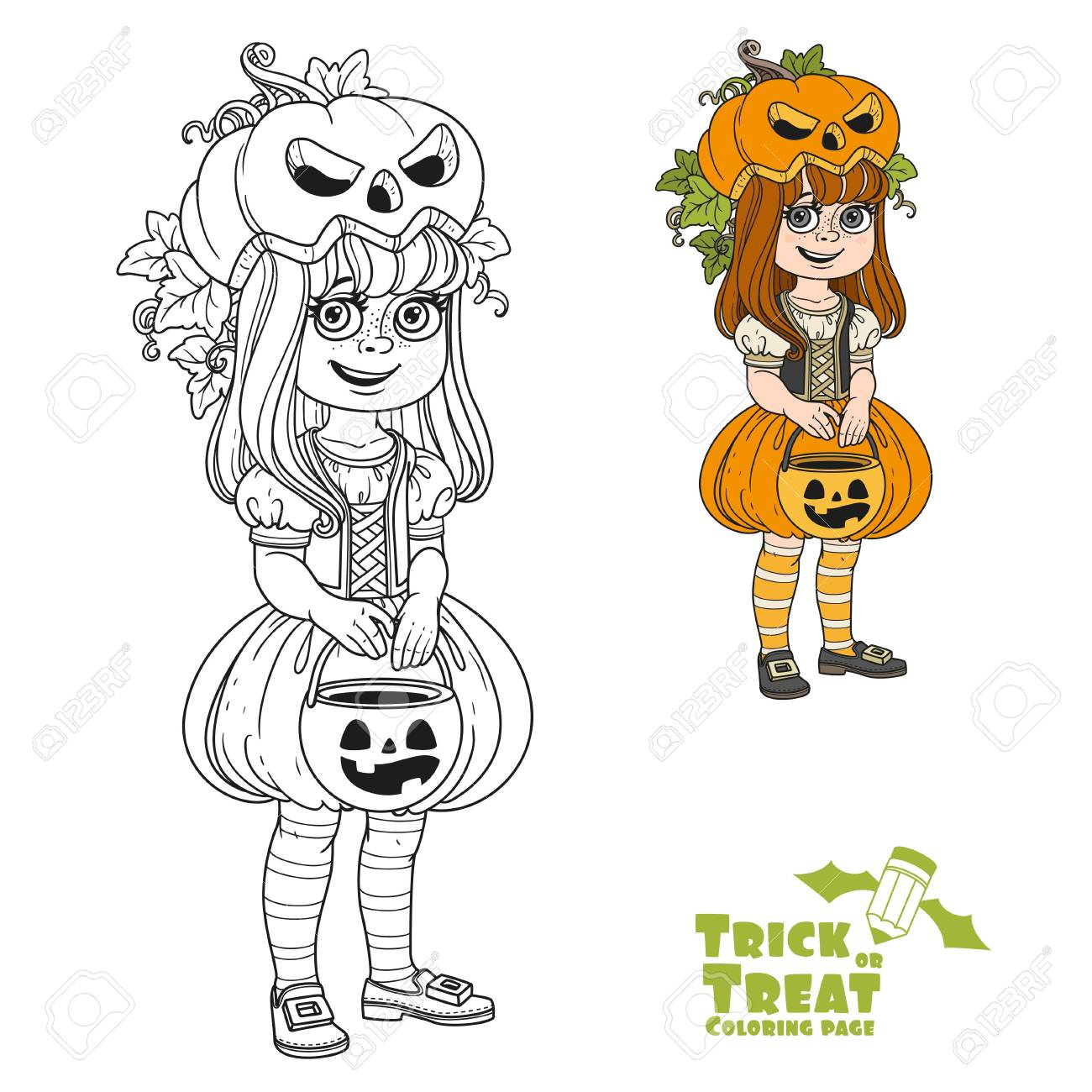 Cute Girl In Pumpkin Costume With A Pumpkin Bag For Sweets Trick ...