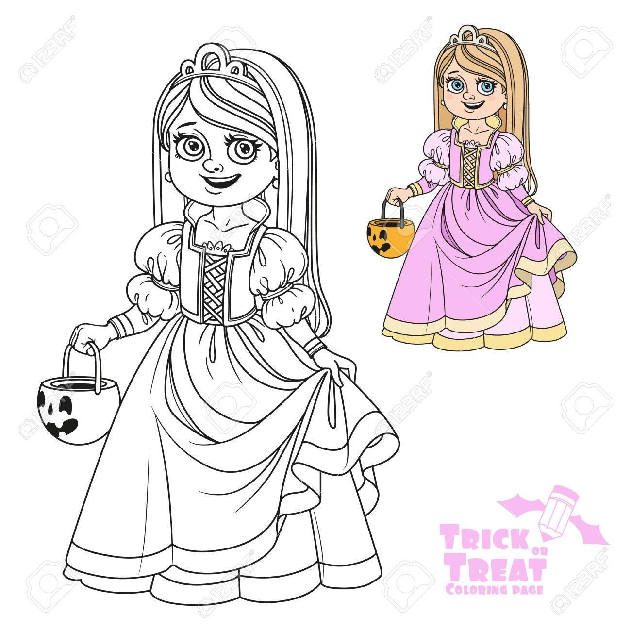 Süßes Mädchen In Prinzessin Kostüm Hält Eine Kürbis Tasche Für ...