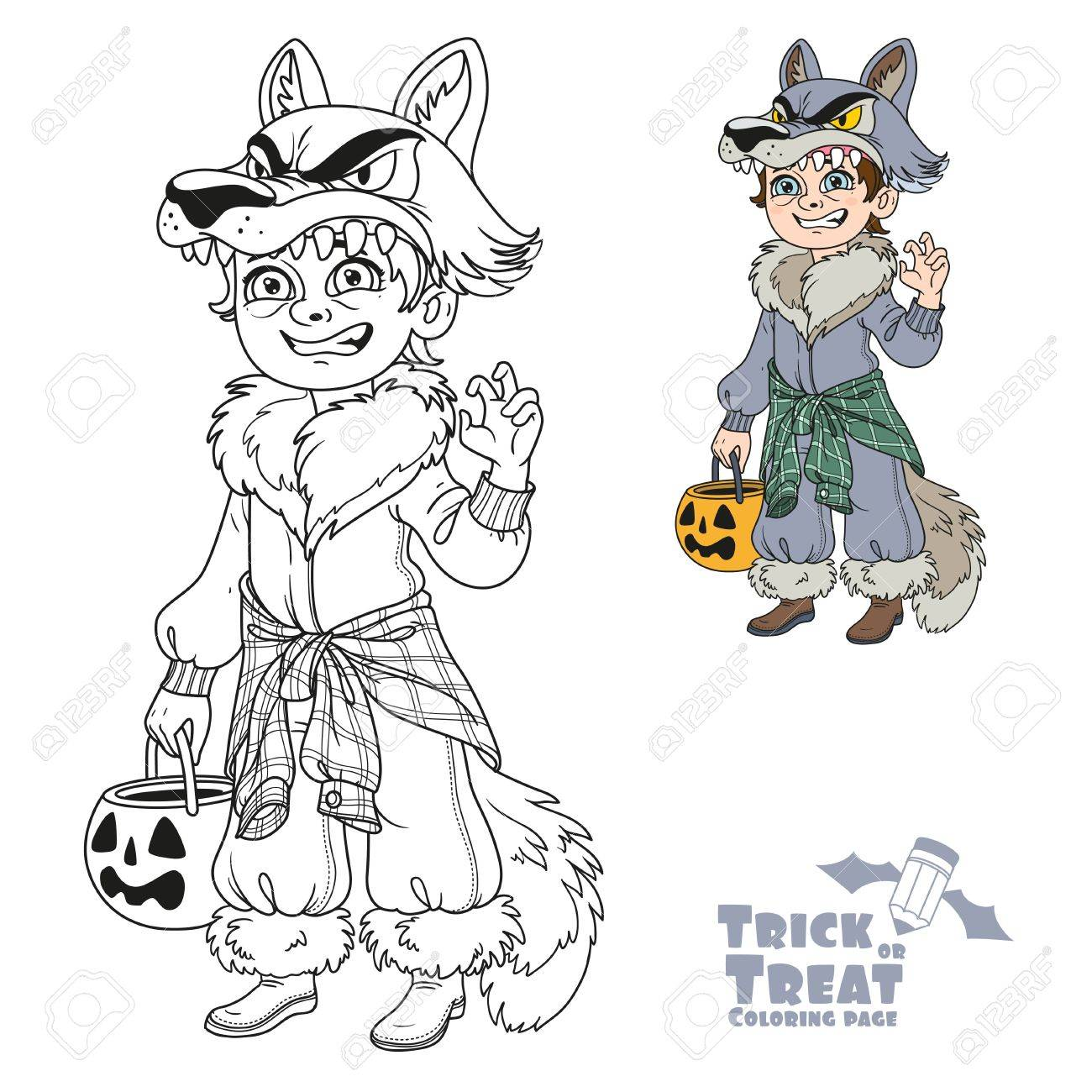 Cute Boy In Werewolf Costume With A Pumpkin Bag For Sweets Trick ...