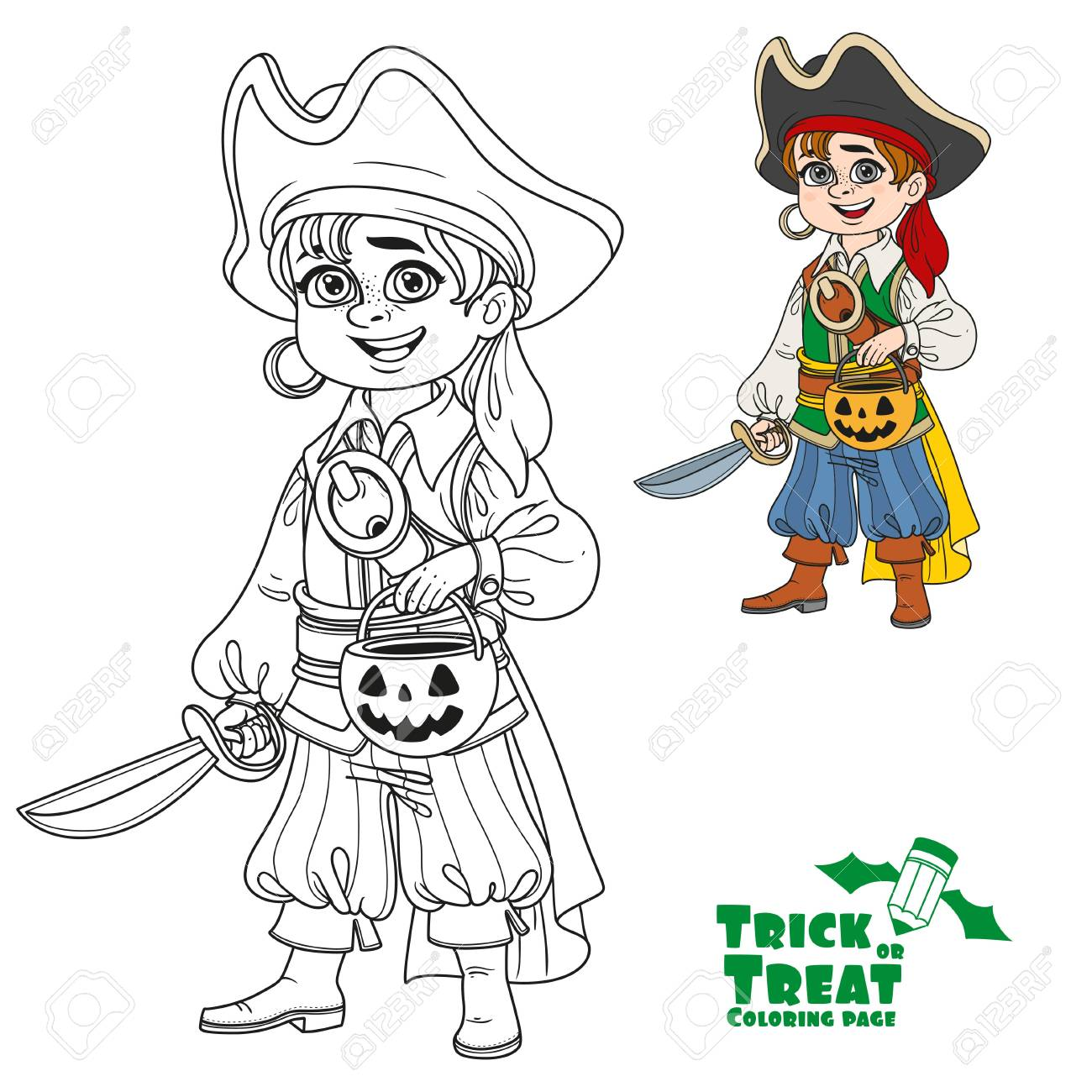 Cute Boy In Pirate Costume With A Pumpkin Bag For Sweets Trick ...