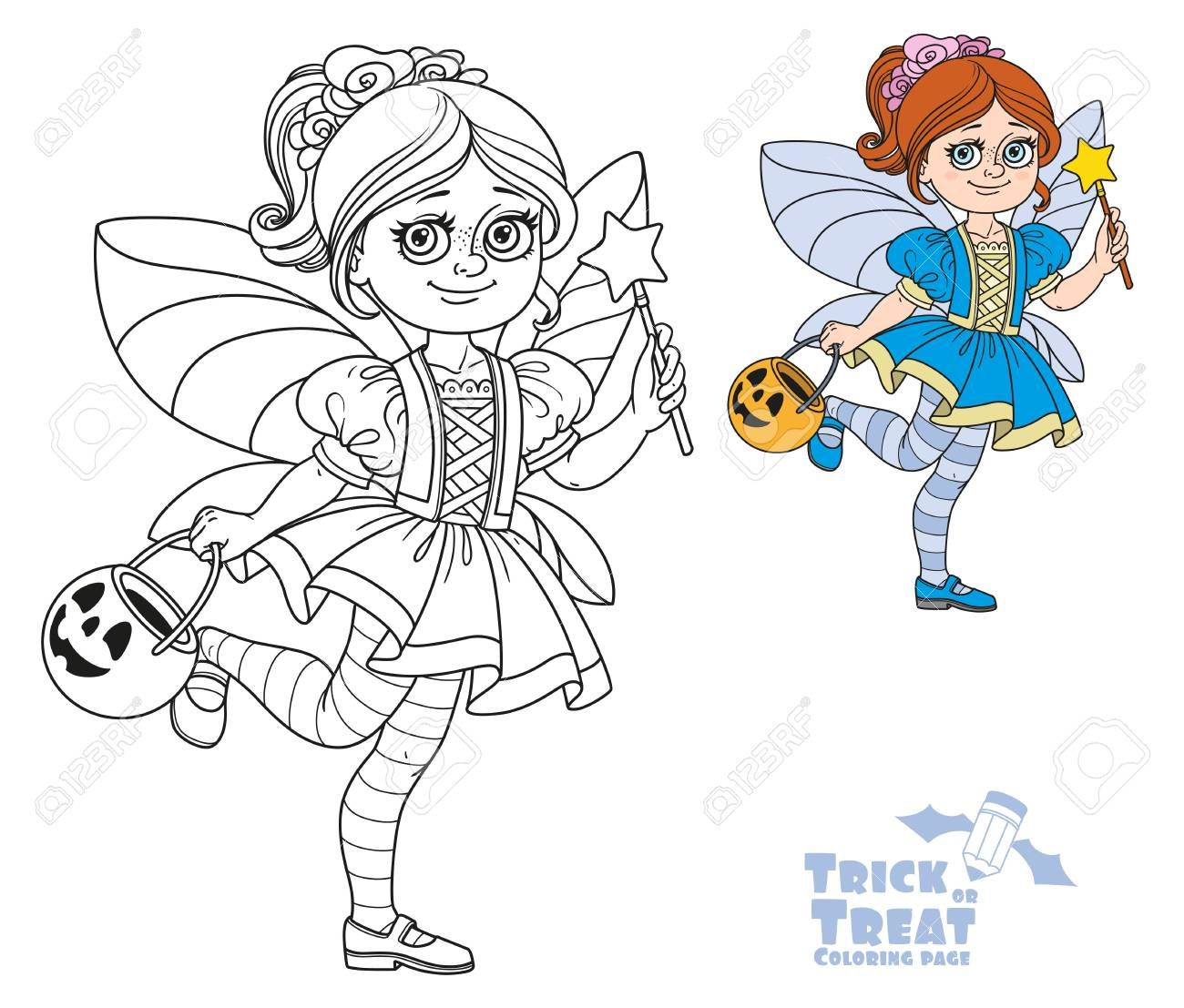 Cute Girl In Fairy Costume Holding A Pumpkin Bag For Sweets ...