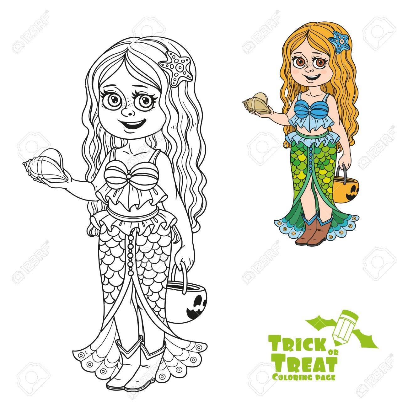 Süßes Mädchen In Meerjungfrau Kostüm Mit Einem Kürbis Tasche Für ...