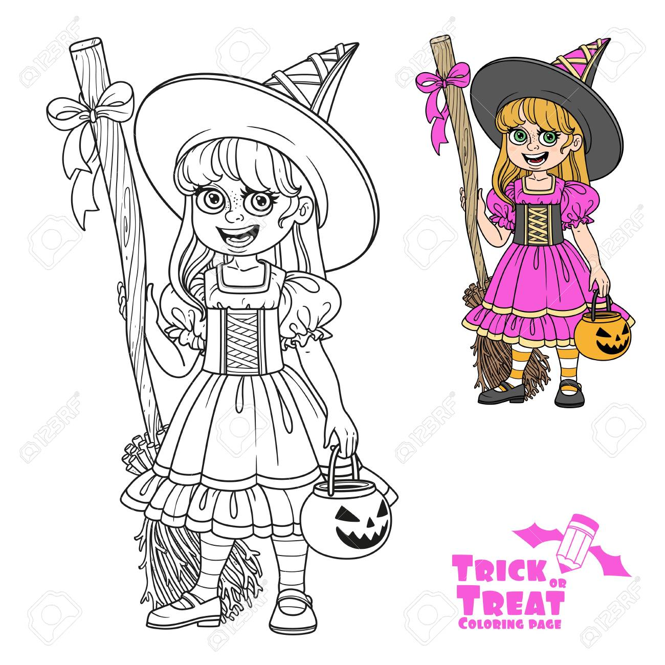 Cute Girl In Witch Costume Holding A Pumpkin Bag For Sweets ...