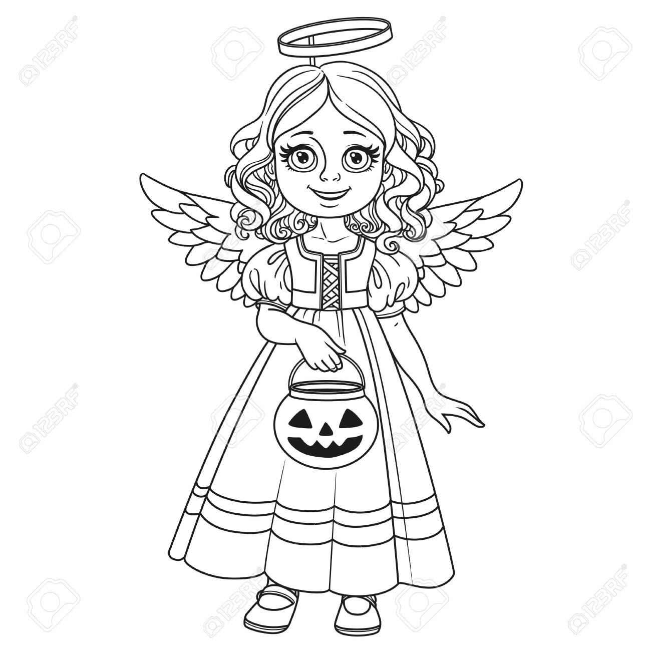 Linda Chica En Traje De ángel Sosteniendo Una Bolsa De Calabaza Para ...