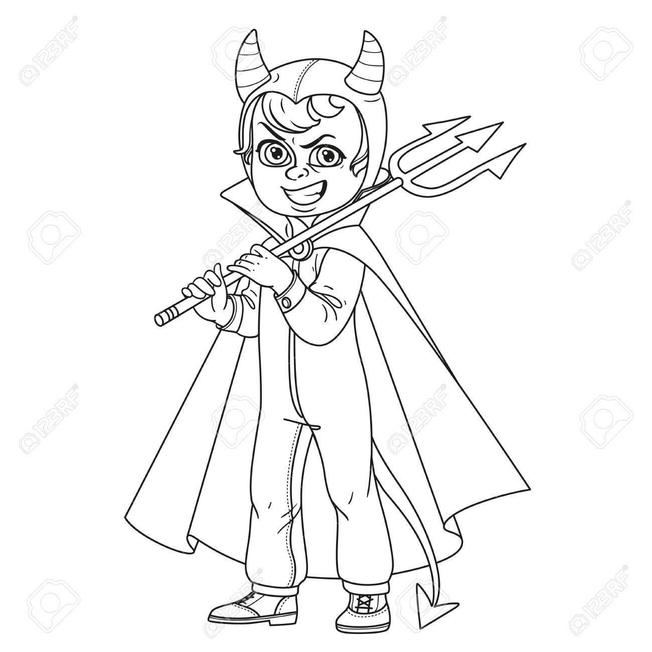 Netter Junge In Overalls Teufel Kostüm Mit Einem Dreizack In Der ...