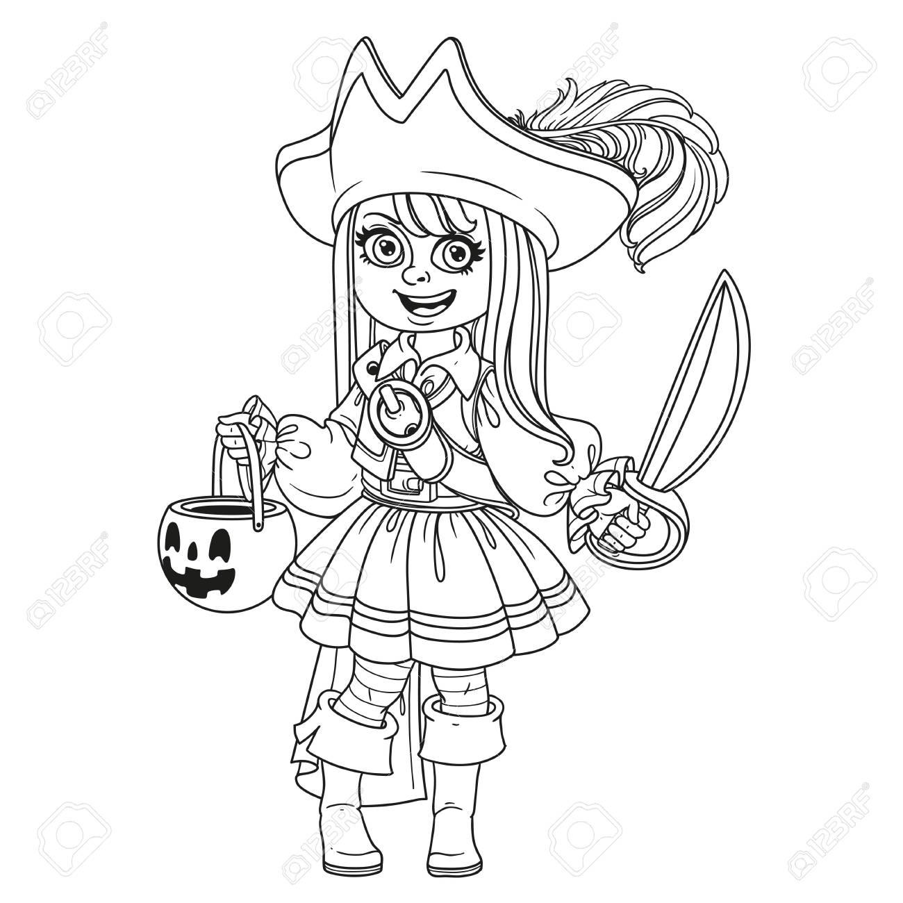 Nettes Mädchen In Piratenkostüm Mit Einer Kürbis-Tasche Für ...