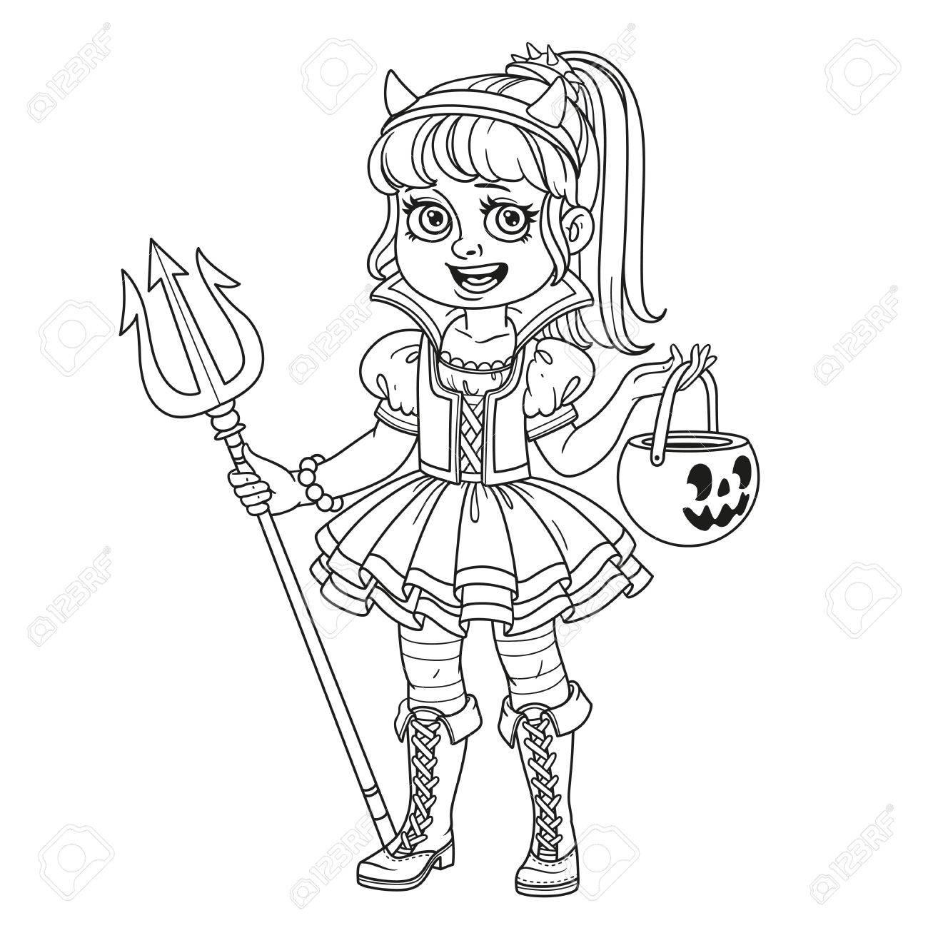 Süßes Mädchen In Sukkubus Kostüm Mit Einer Kürbis Tasche Für ...