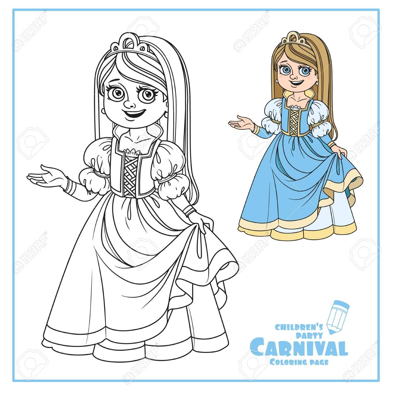 Coloriage Princesse Carnaval.Cute Girl En Costume De Princesse De Couleur Et Decrit Pour La Page