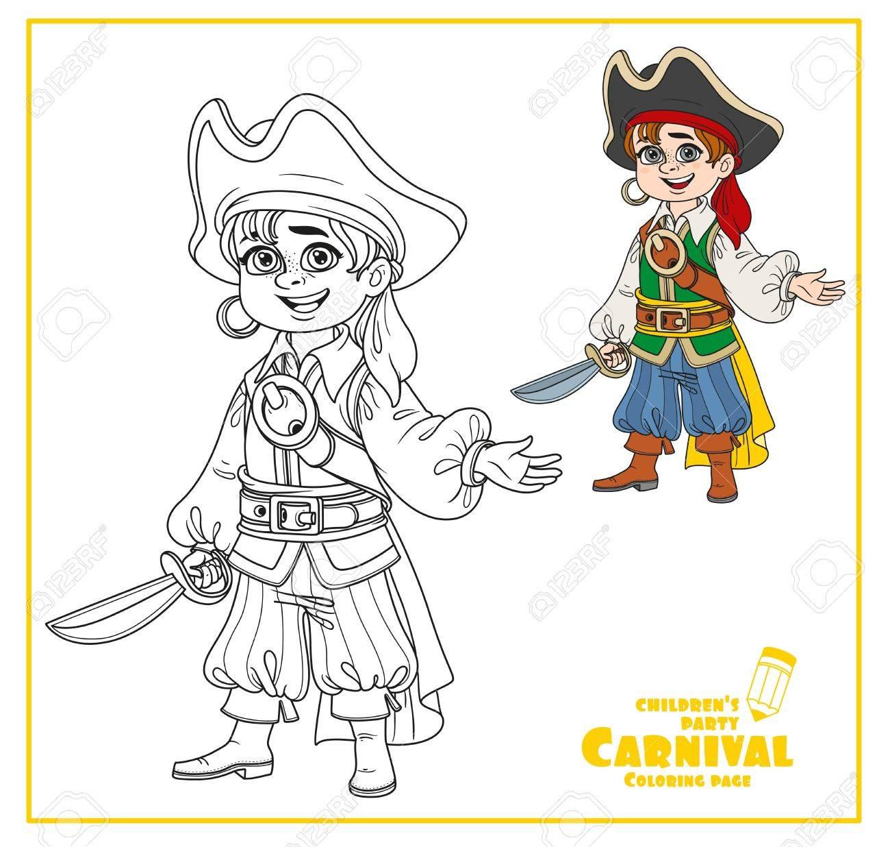 Netter Junge In Piraten Kostüm Farbe Und Umrissen Für Malvorlagen