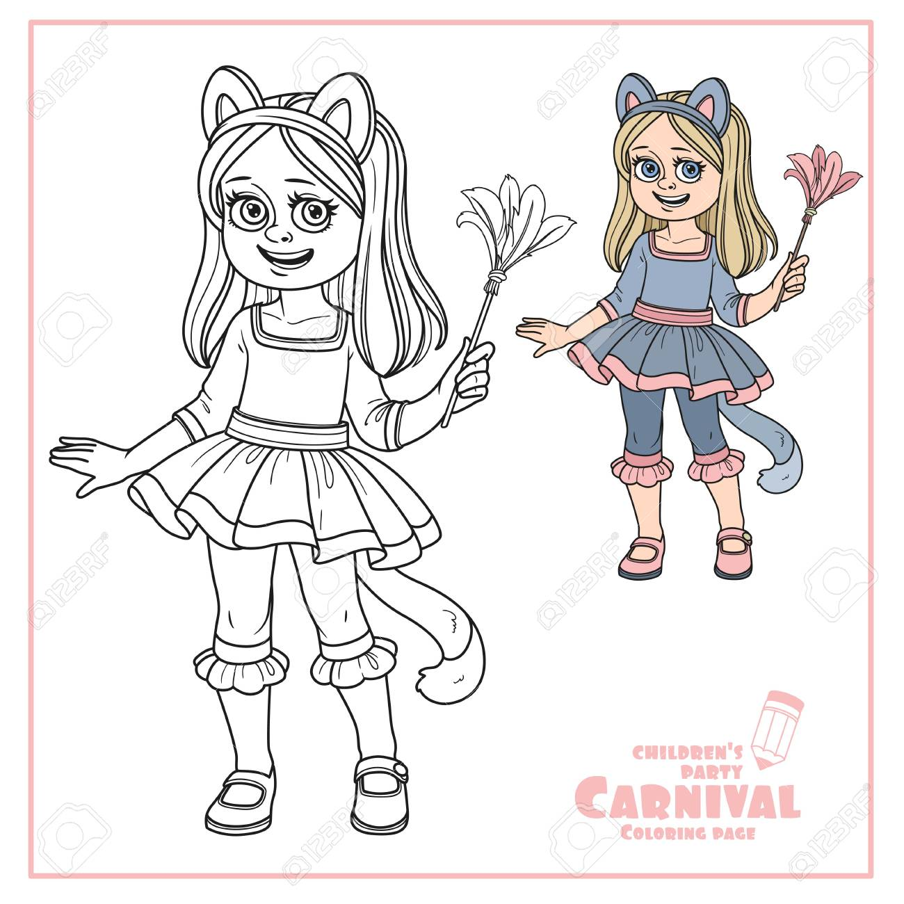 Cute Girl In Cat Costume Color And Outlined For Coloring Page Stock Vector