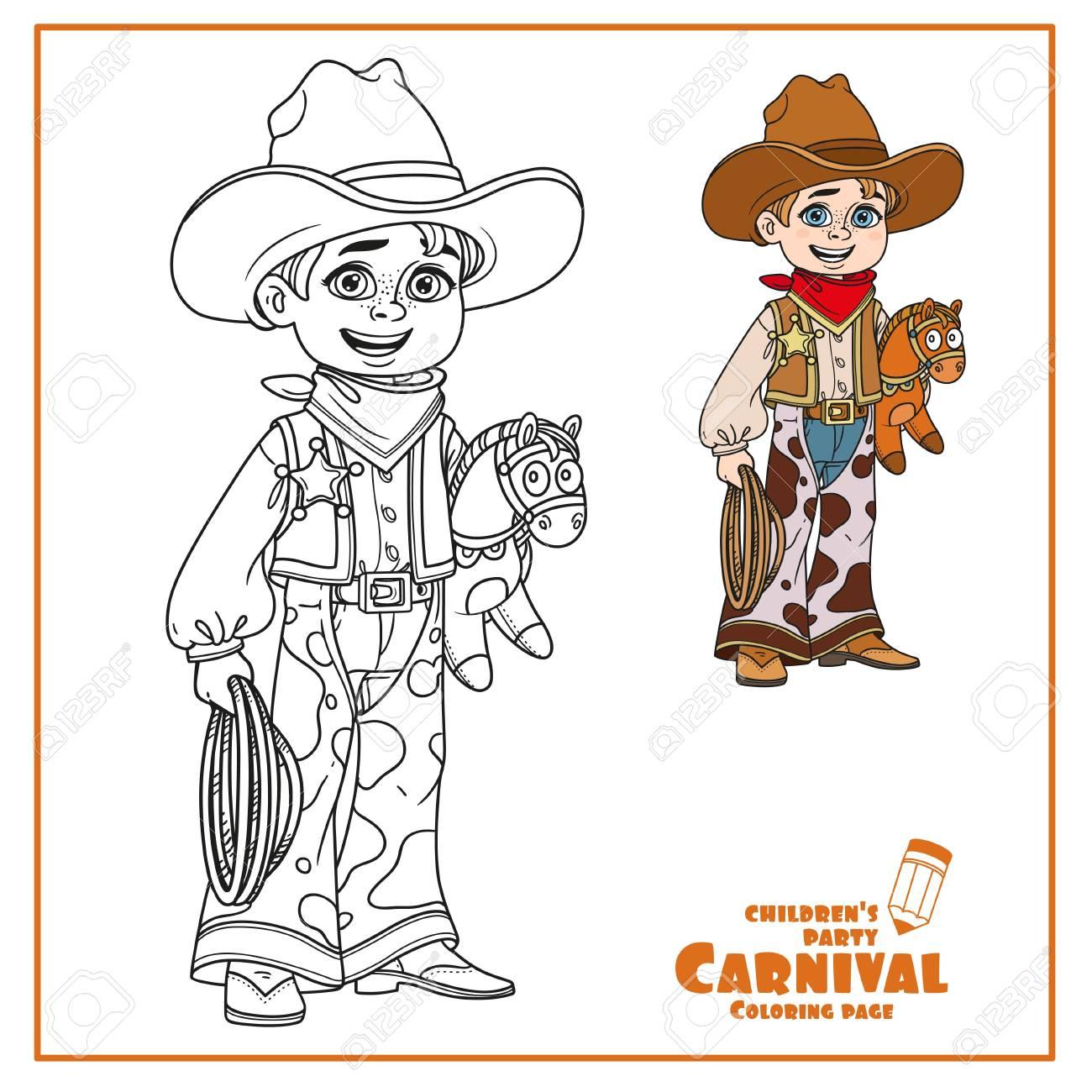 Netter Junge In Cowboy Kostüm Farbe Und Skizziert Für Ausmalbilder