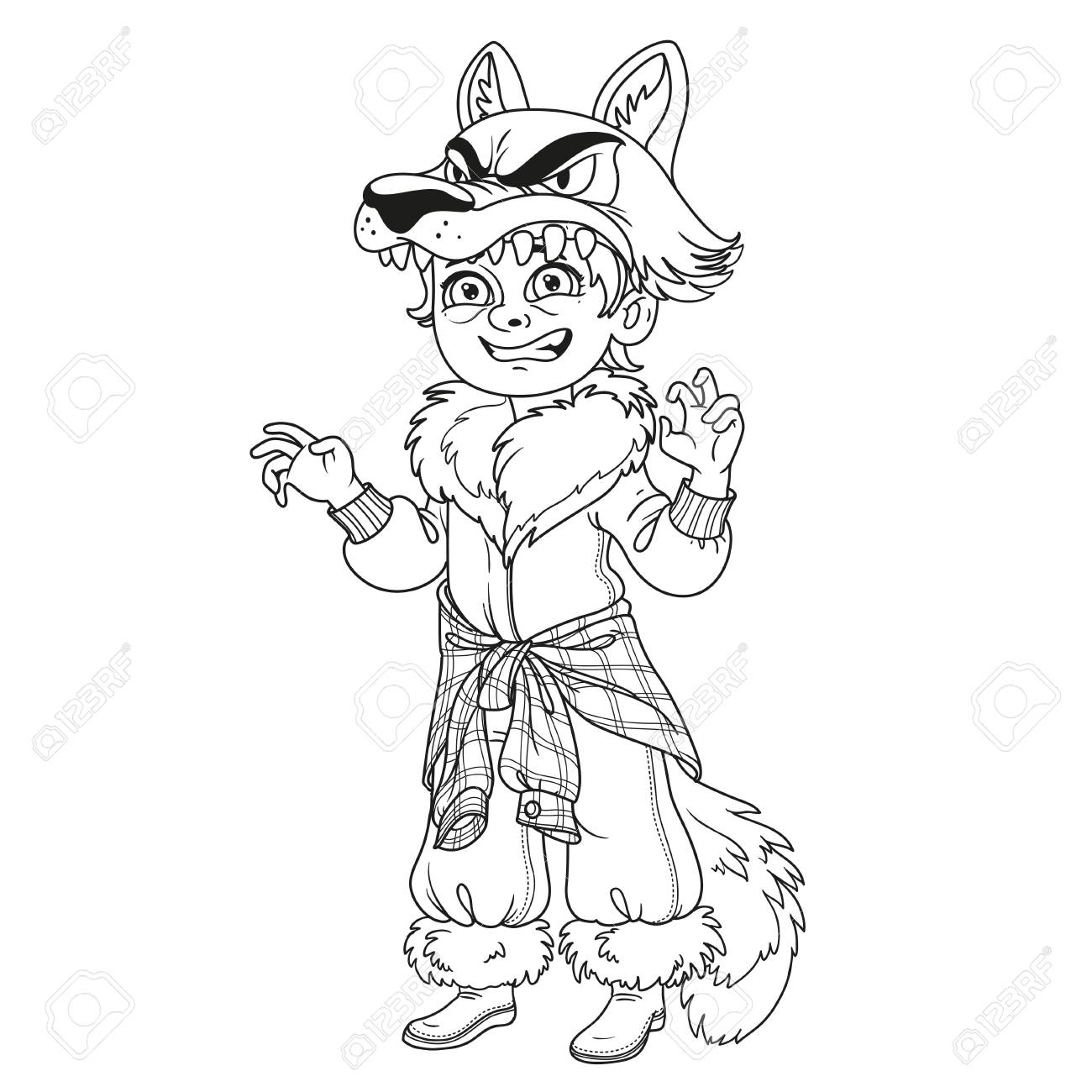 Cute Boy In Werewolf Costume Outlined For Coloring Page Stock Vector