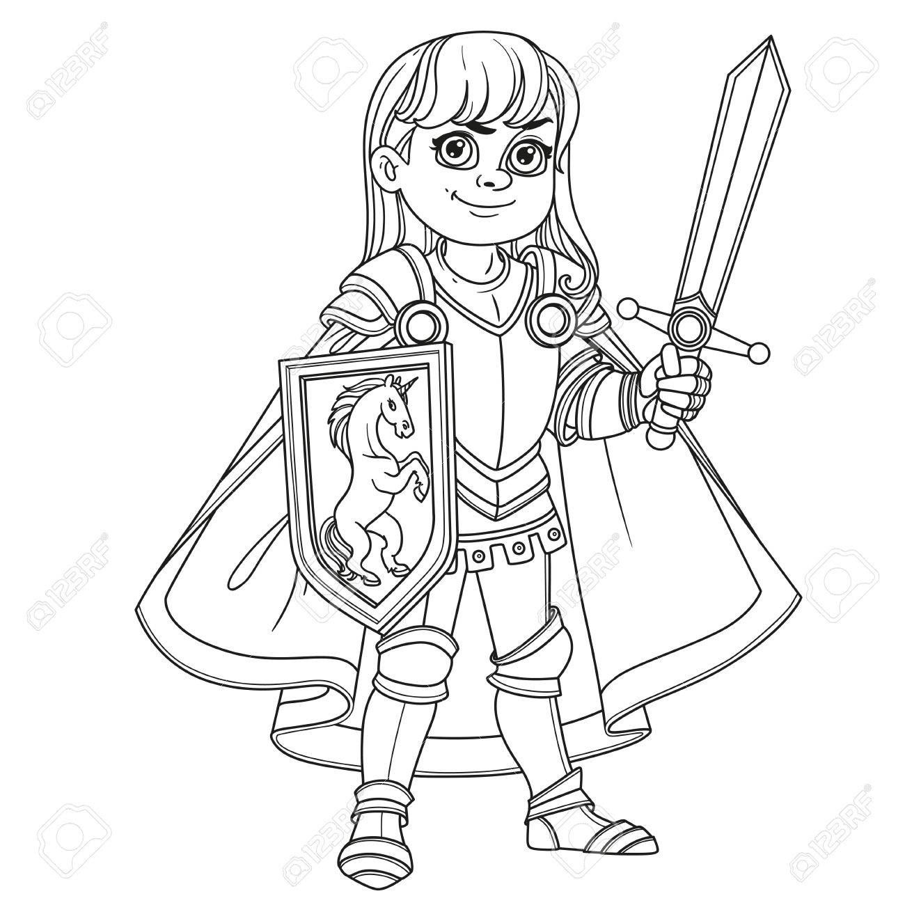 Cute Boy In Knight Or Paladin Armor Costume Outlined For Coloring Page Stock Vector