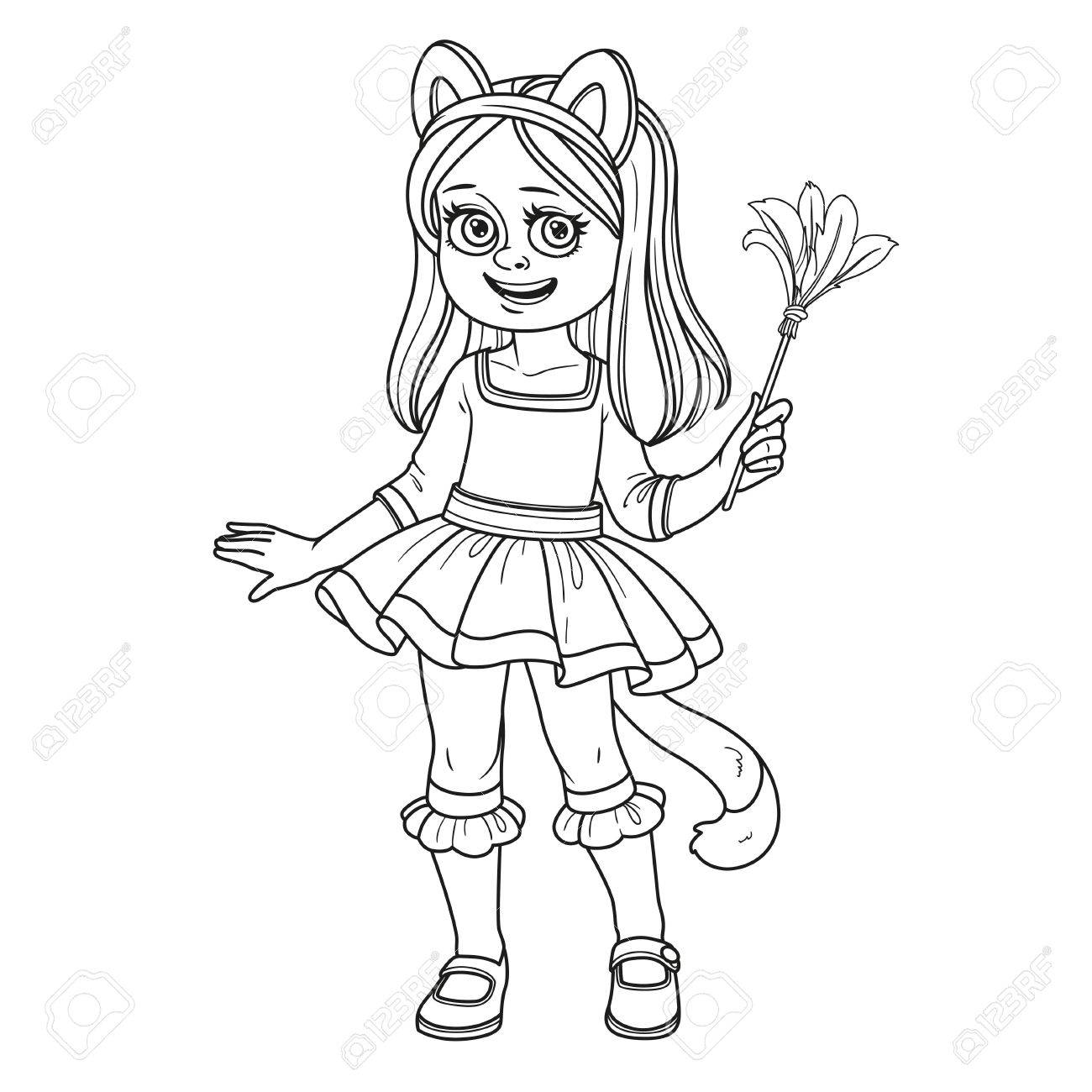 Cute Girl In Cat Costume Outlined For Coloring Page Royalty Free ...