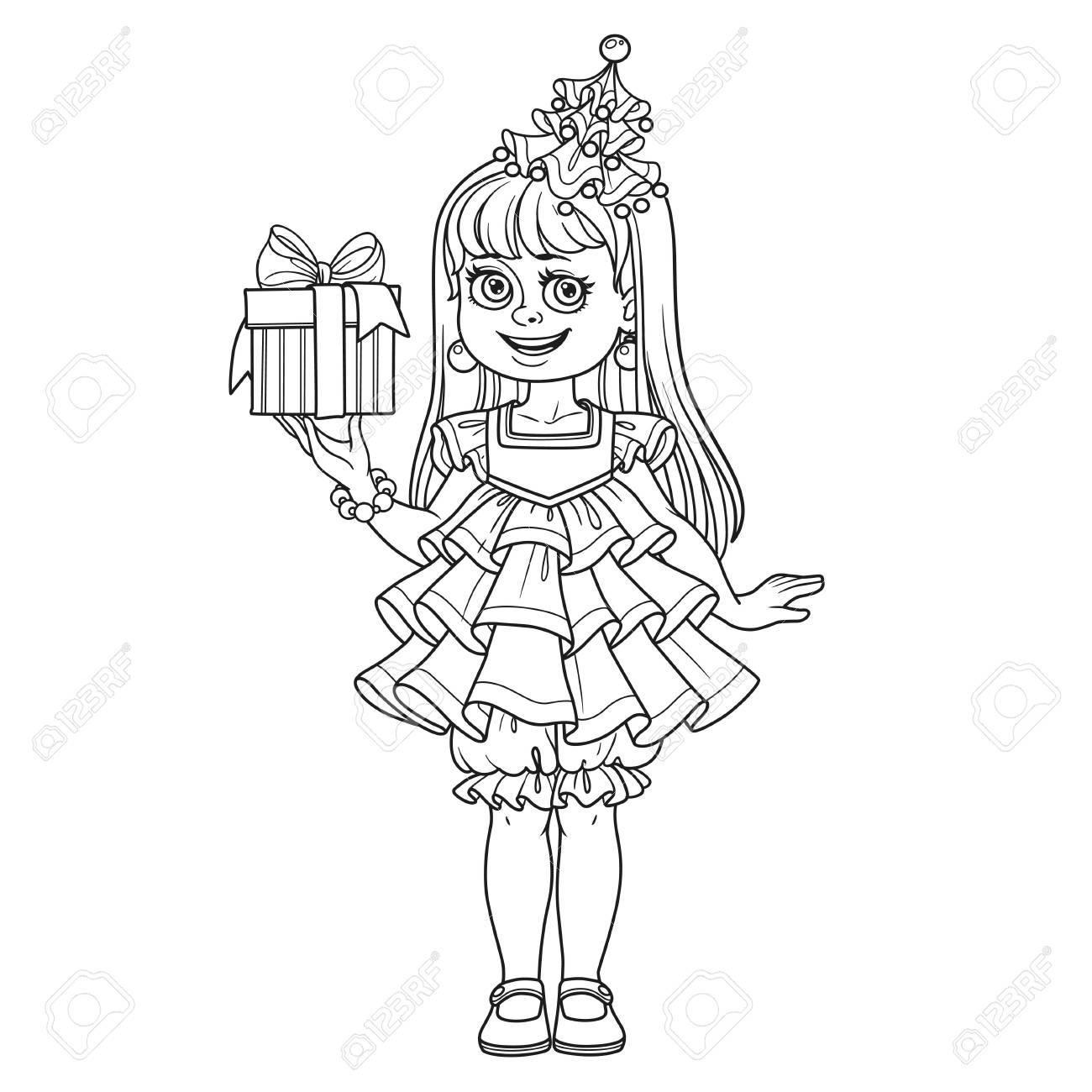 Linda Chica En Vestido De árbol De Año Nuevo Con Un Regalo En Mano ...