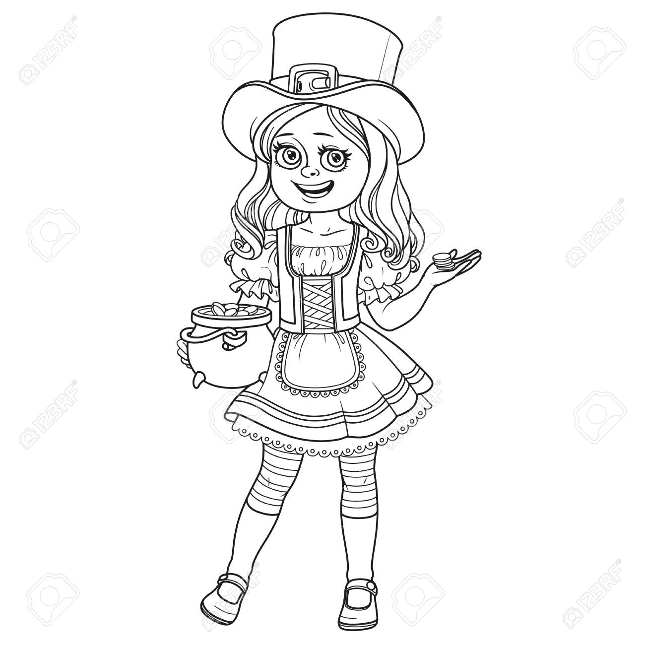 Cute Girl In Leprechaun Costume With A Pot Of Gold Outlined