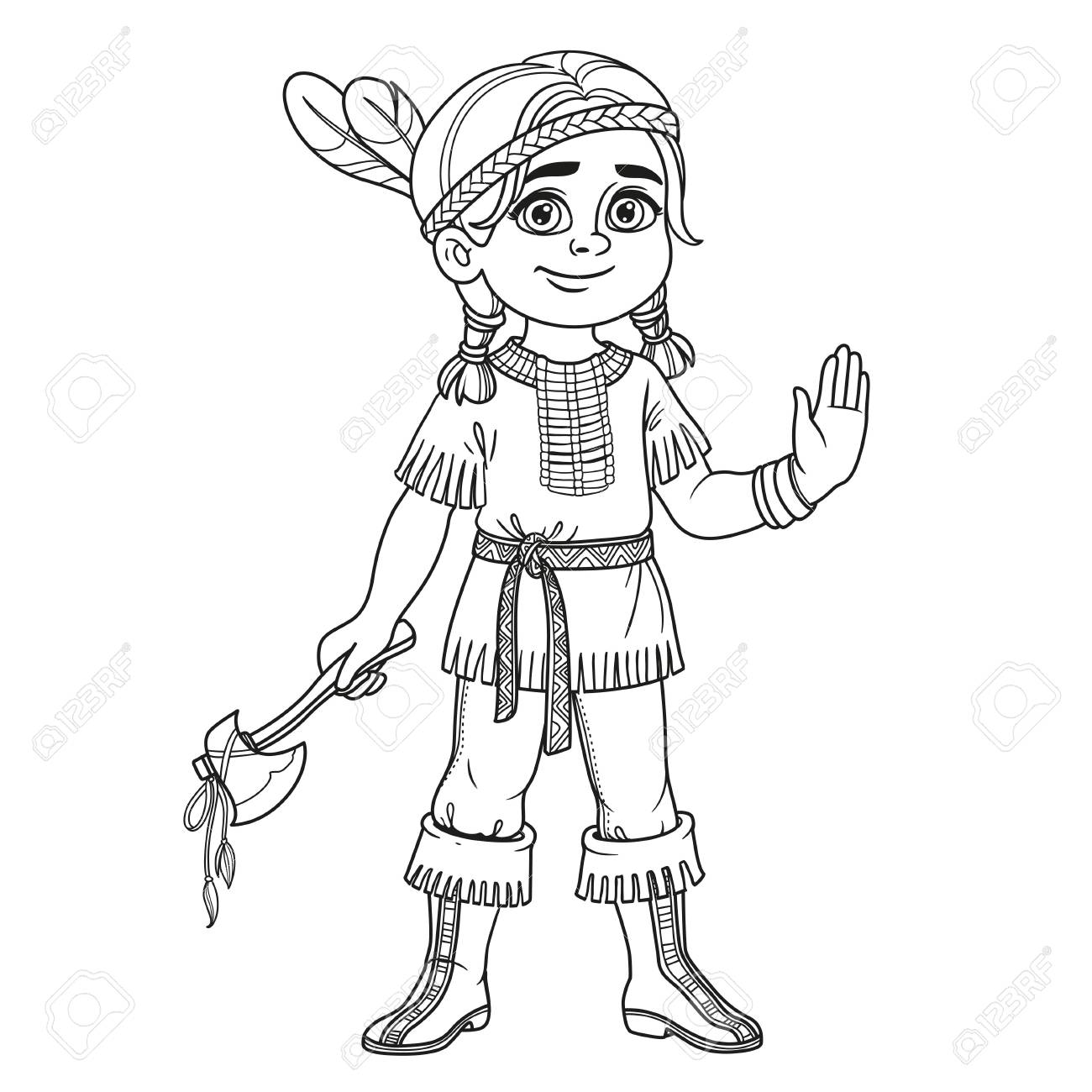 Cute Boy In Indian Costume Outlined For Coloring Page Royalty Free ...