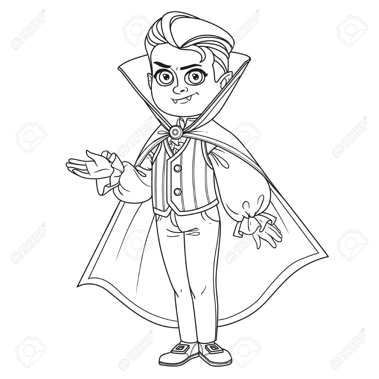 Cute Boy In Vampire Costume Outlined For Coloring Page Stock Vector