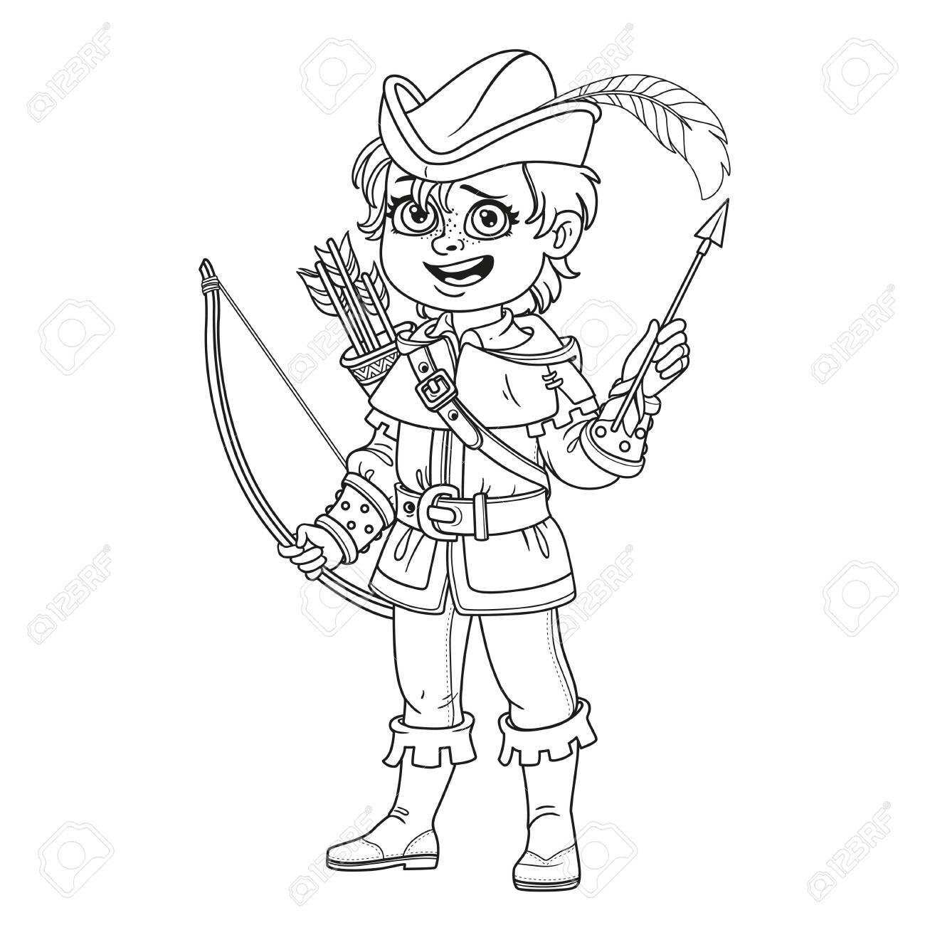 Netter Junge In Robin Hood Kostüm Skizziert Für Ausmalbilder