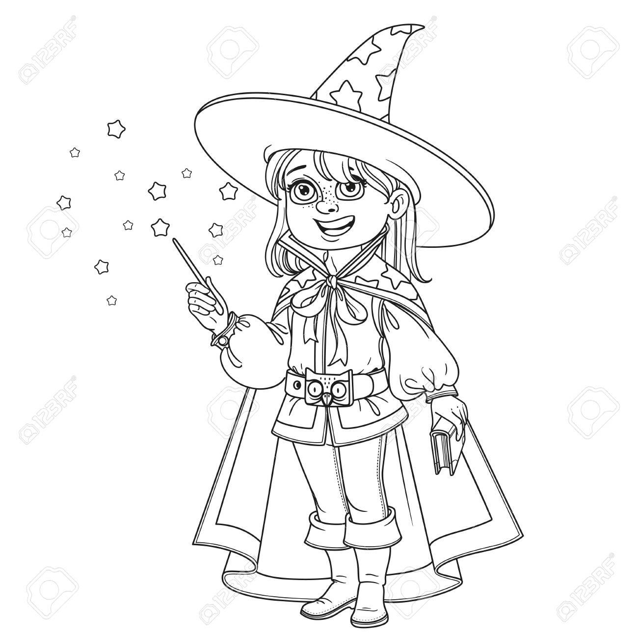 Cute Boy In Magician Costume Outlined For Coloring Page Stock Vector