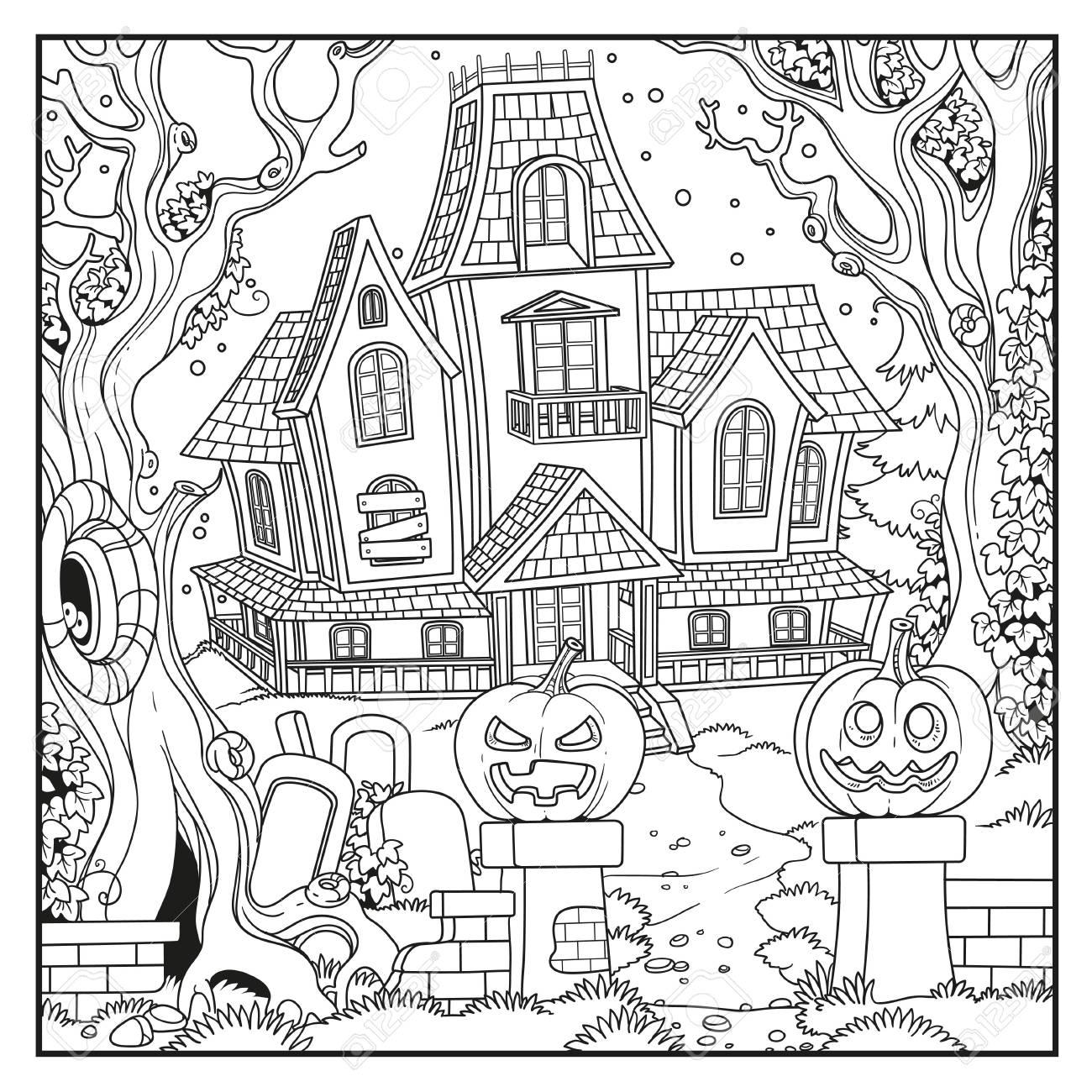 Halloween mit Hexe Haus skizziert für ausmalbilder