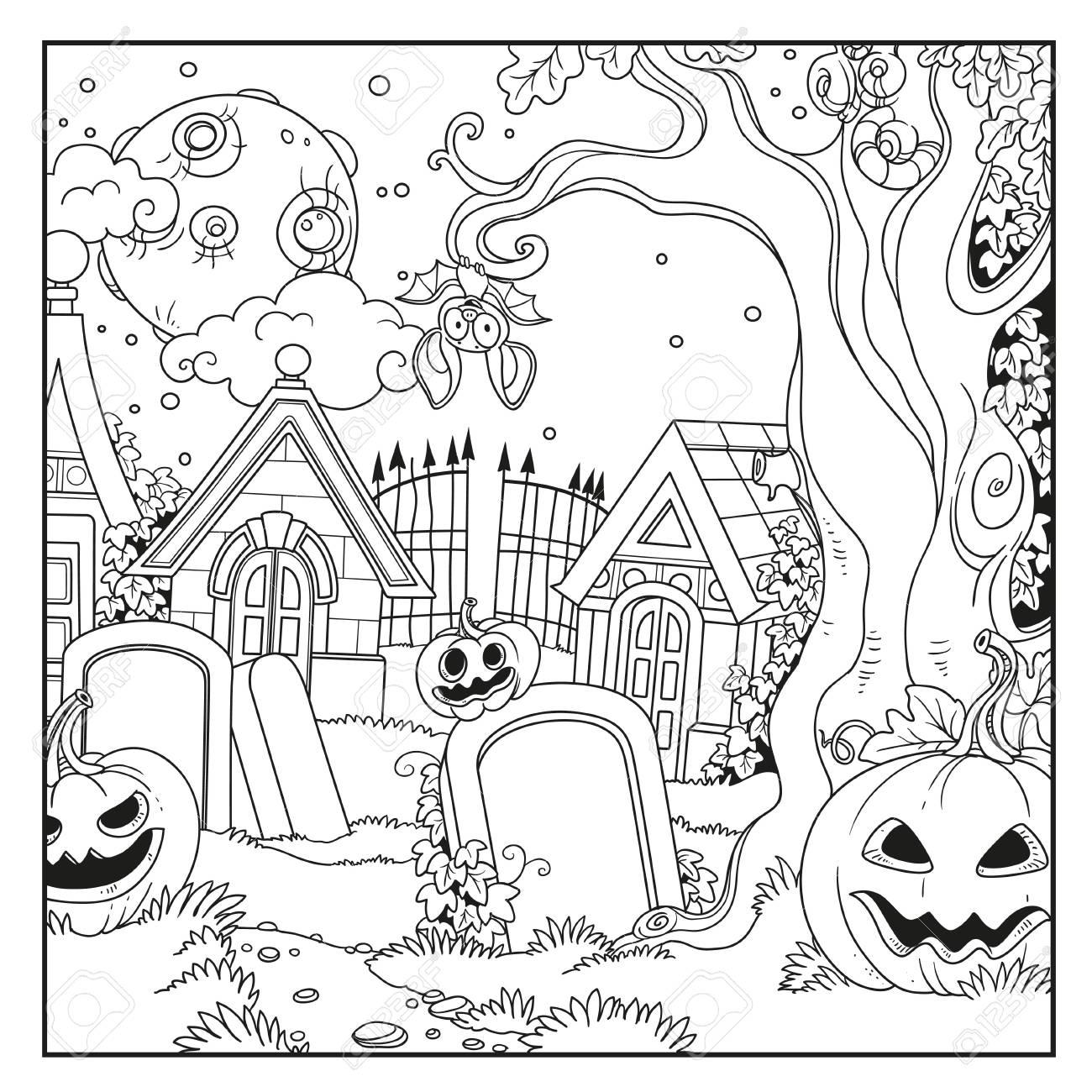 Cementerio De Halloween Y Criptas Con Calabazas Delineadas Para ...