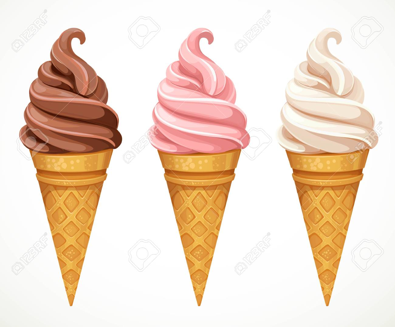 Soft ice-cream dofferent tastes in cone design elements for summer season isolated on a white background - 111789923