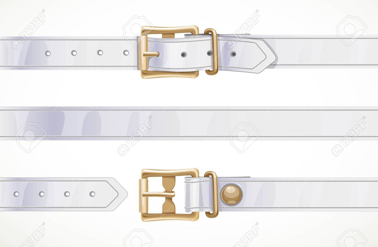 Thin white leather belt buttoned, unbuttoned and seamless middle part isolated on white background - 116036076