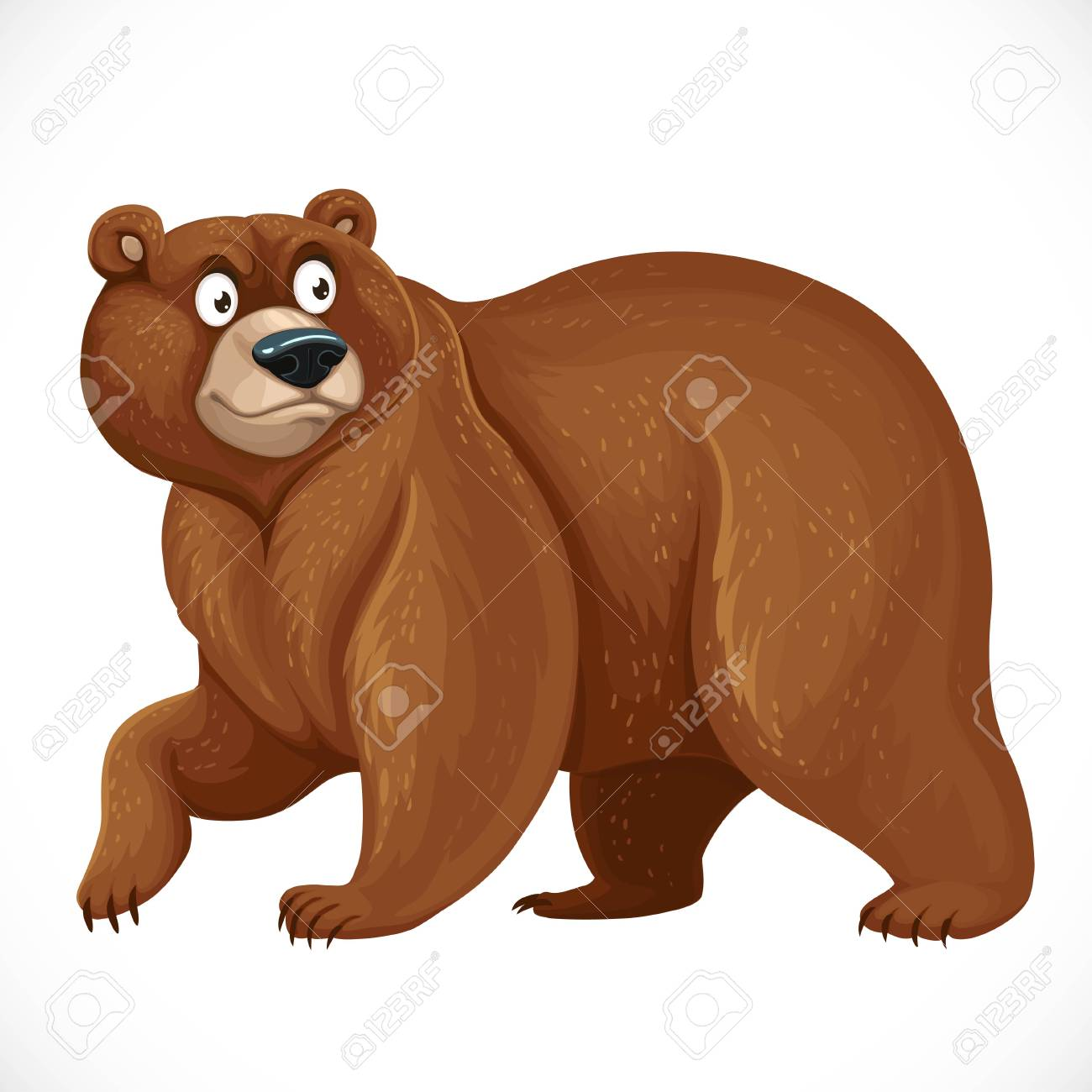 Cartoon bear stands on four legs isolated on white - 116941703