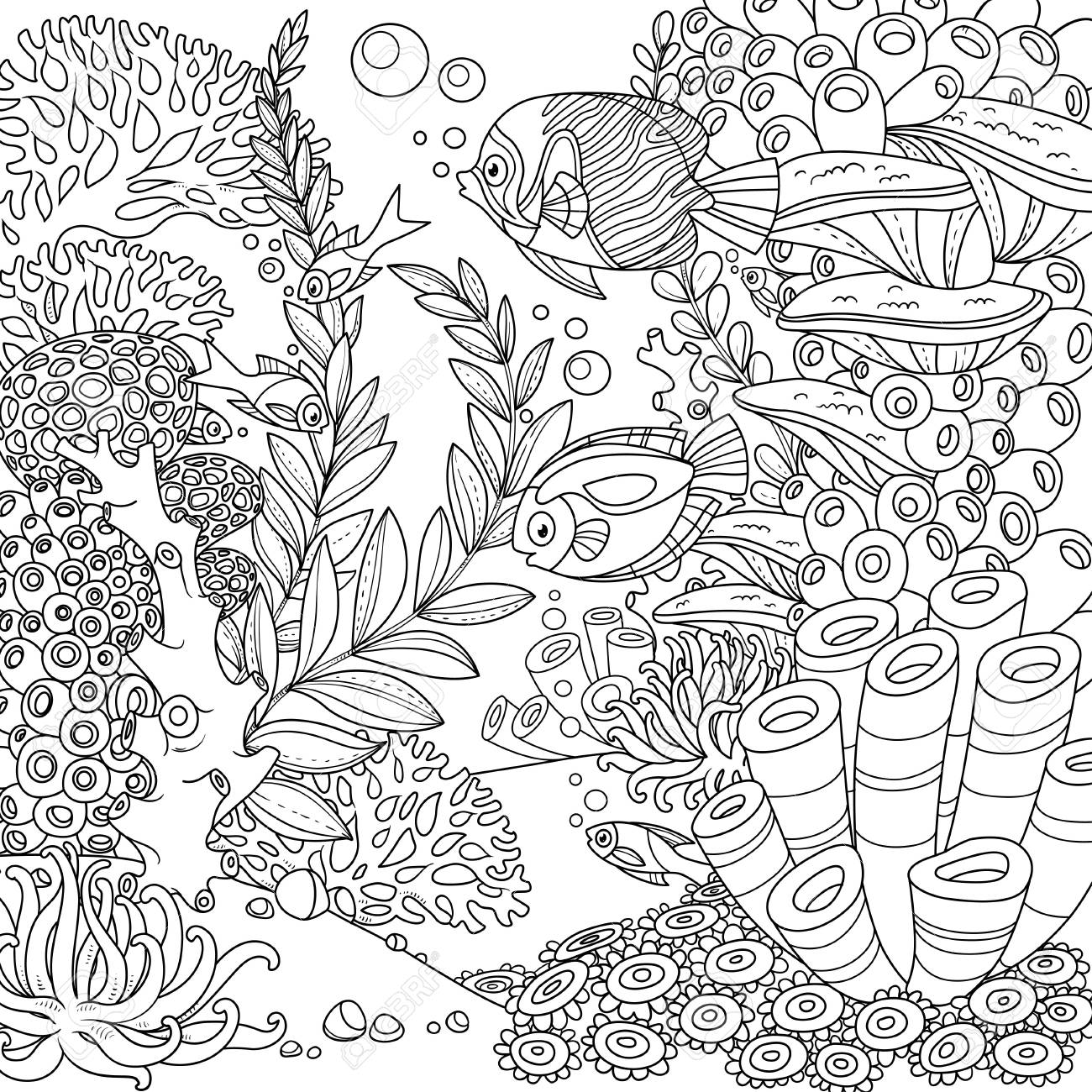 Cartoon underwater world with corals and fishes outlined isolated on white - 120218144