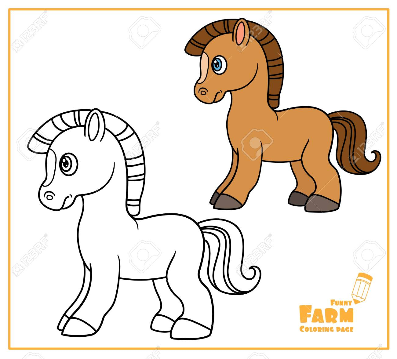 Cute cartoon horse color and outlined on a white for coloring..