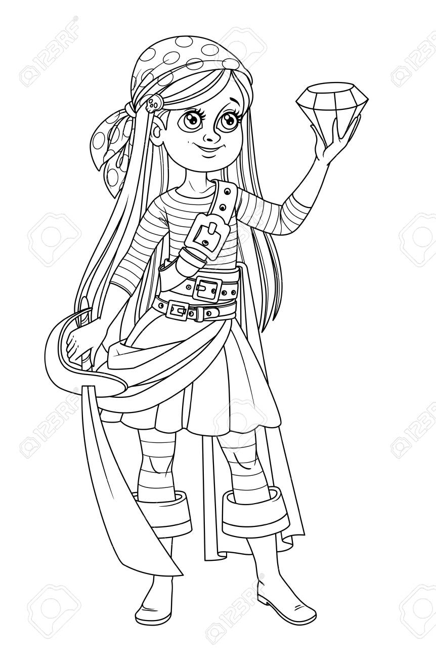 Cute cartoon girl in pirate costume looking at a huge gem in hand outlined isolated on white background - 120218154