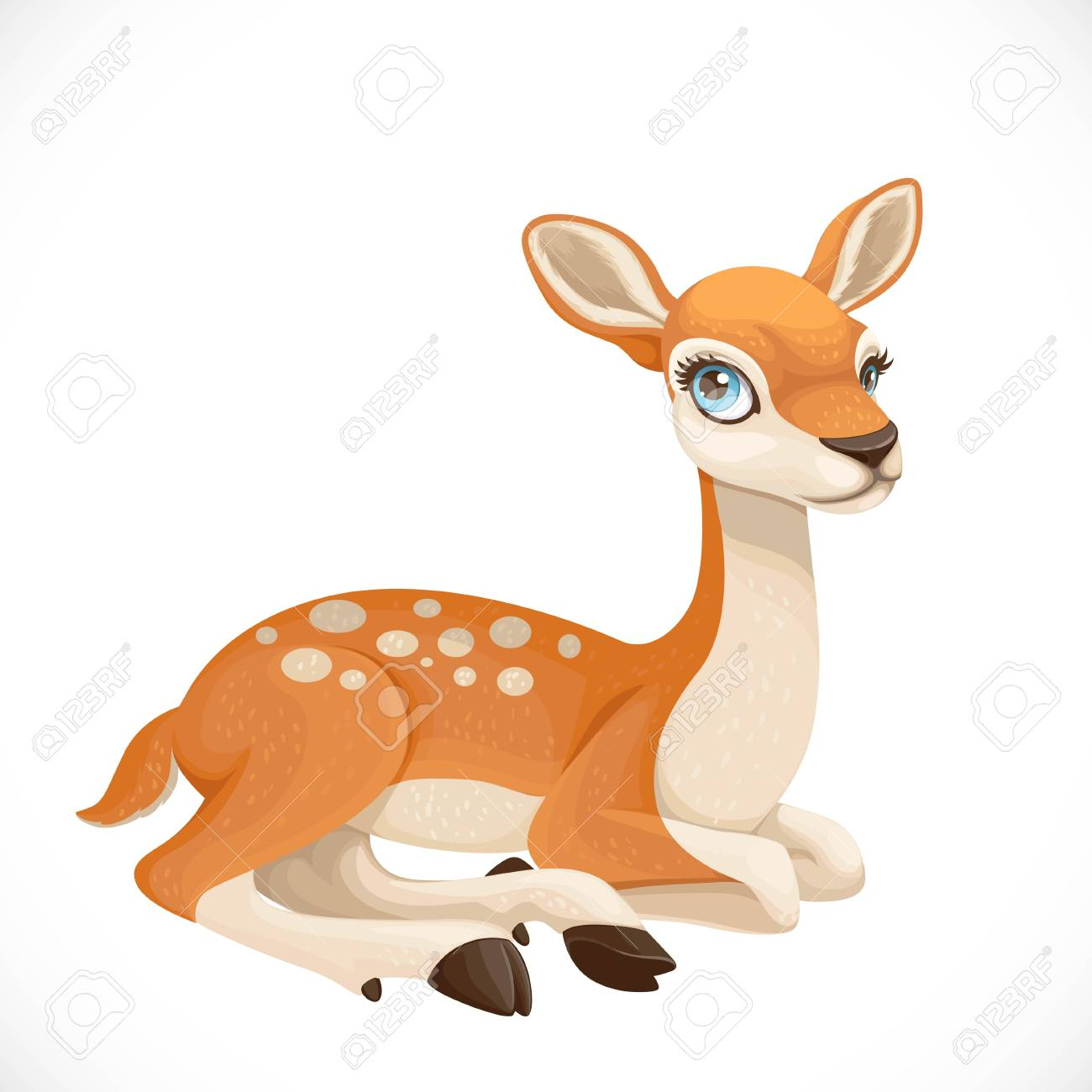Cute cartoon spotted deer lay on white background - 120616172
