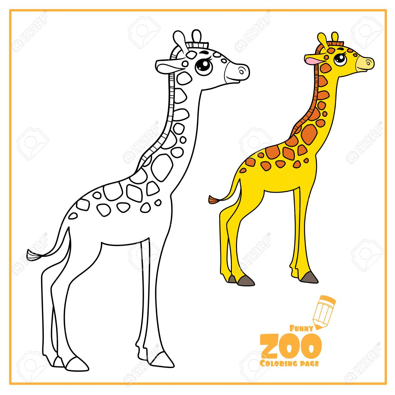 Cute cartoon little giraffe color and outlined on a white for coloring page - 124972971