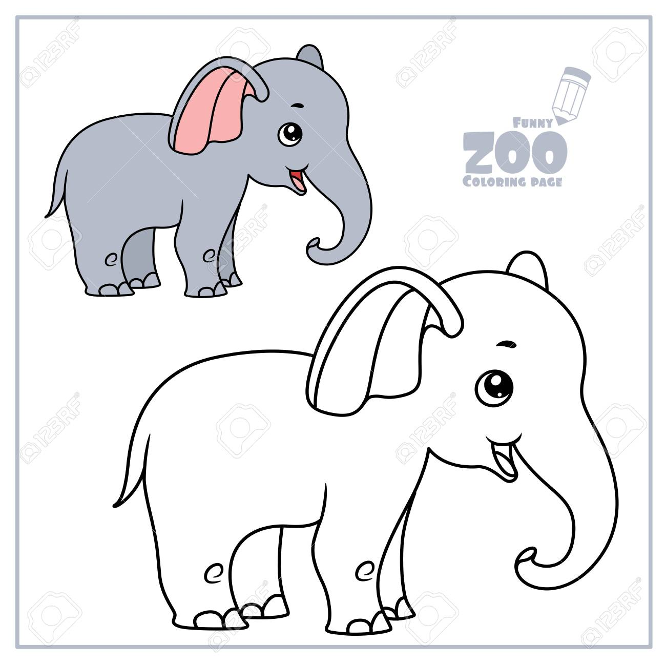 Cute Cartoon Little Elephant Color And Outlined On A White For