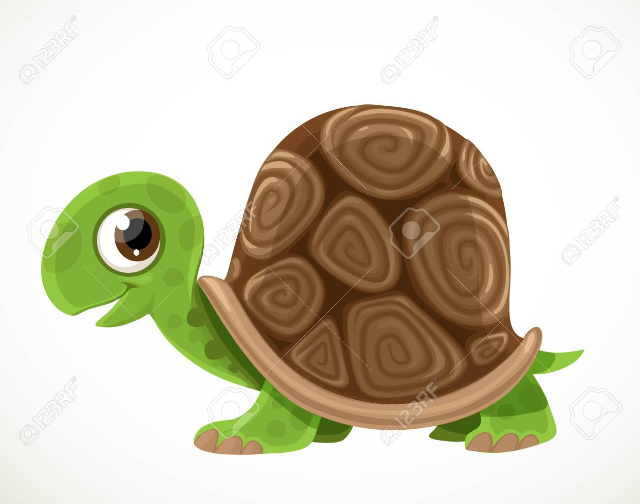 Cute Cartoon Green Turtle With A Big Tortoise Shell Isolated