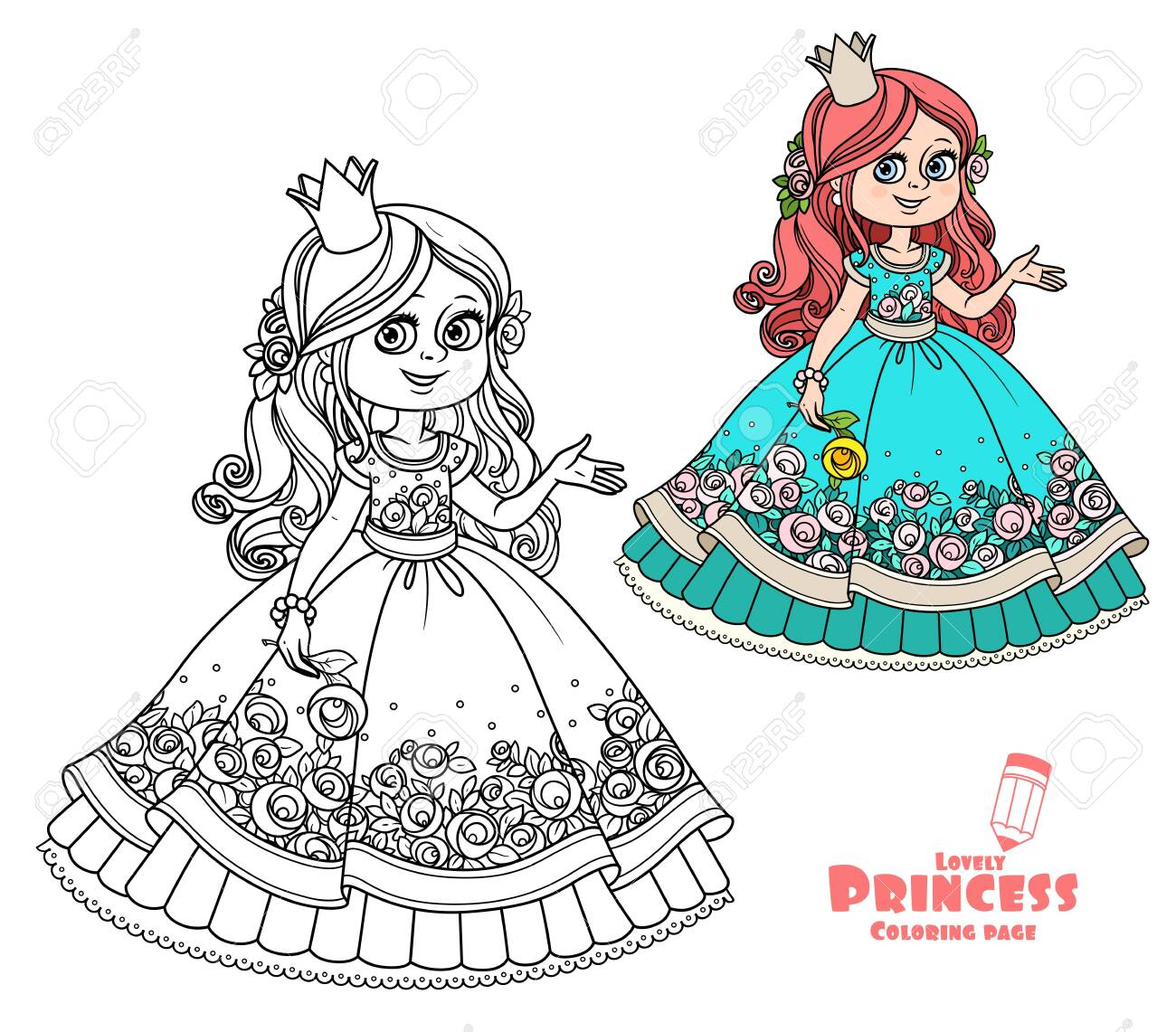 Princess With Rose In Hand Color And Outlined Picture For Coloring Royalty Free Cliparts Vectors And Stock Illustration Image 138669358
