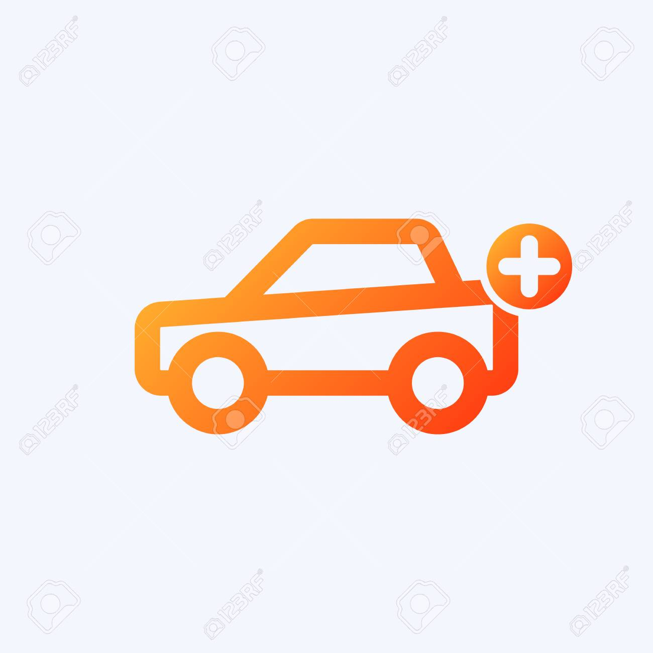 Car Icon With Add Sign Car Icon And New Plus Positive Symbol