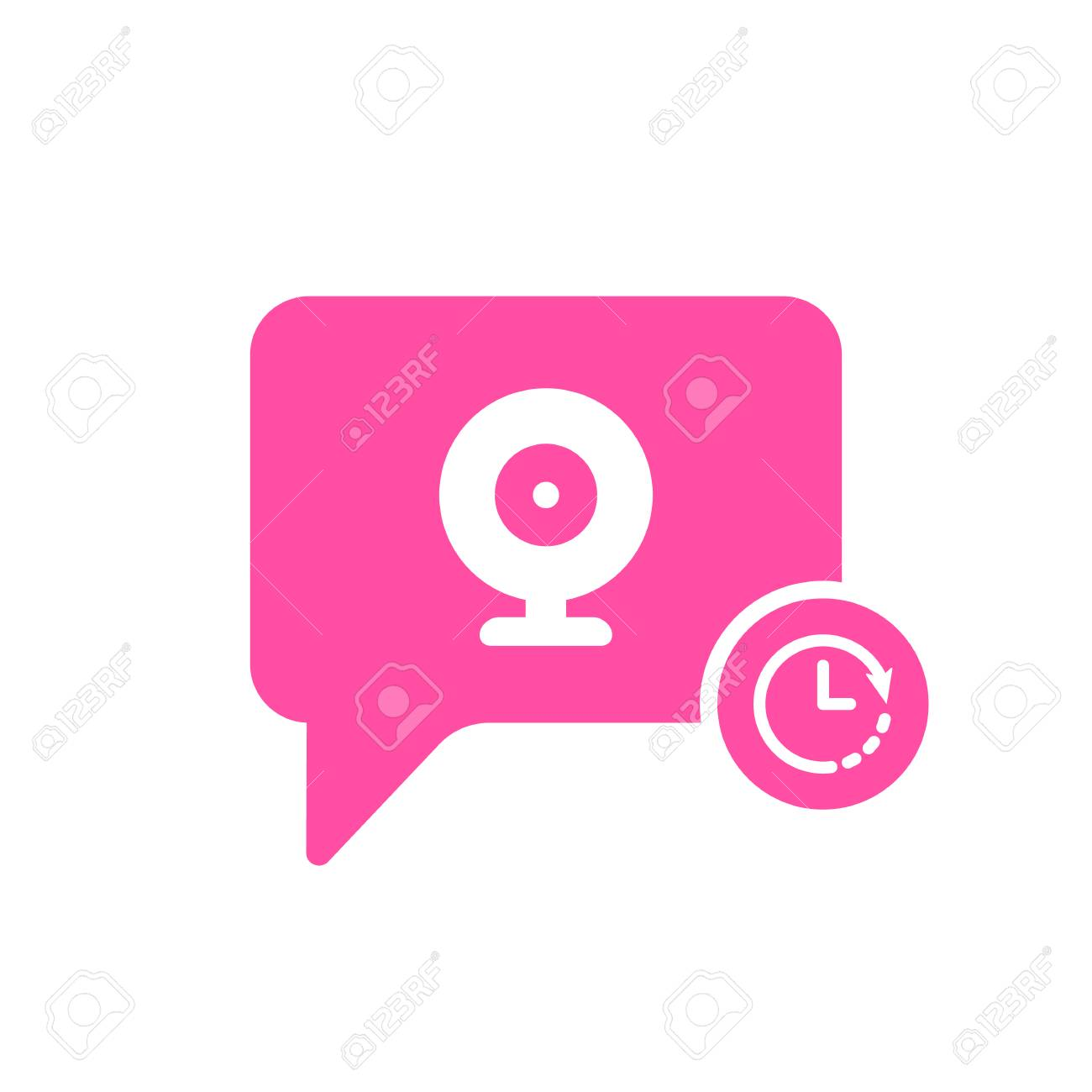 Video Chat icon with clock sign  Video Chat icon and countdown,