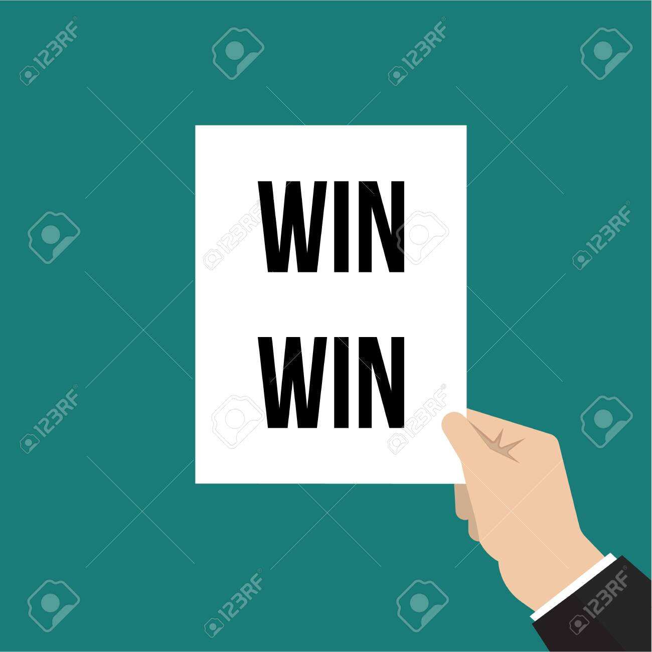 Man showing paper WIN WIN text. Vector illustration - 114670344