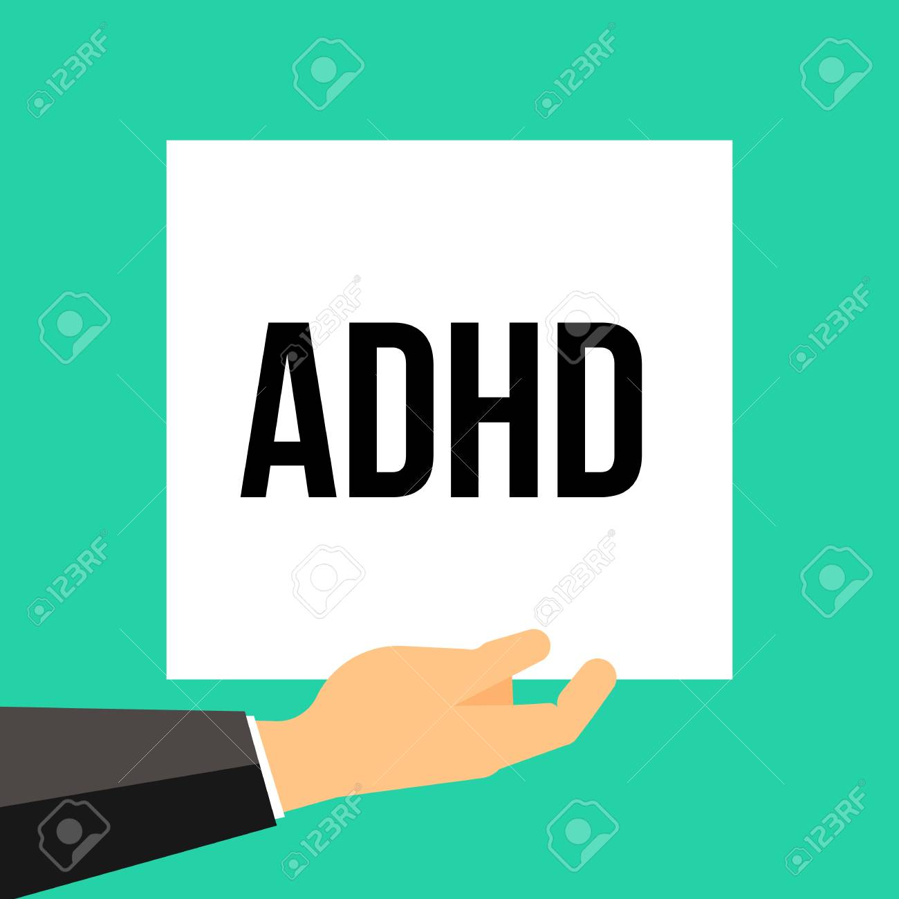 Man showing paper ADHD text. Vector illustration - 114670348