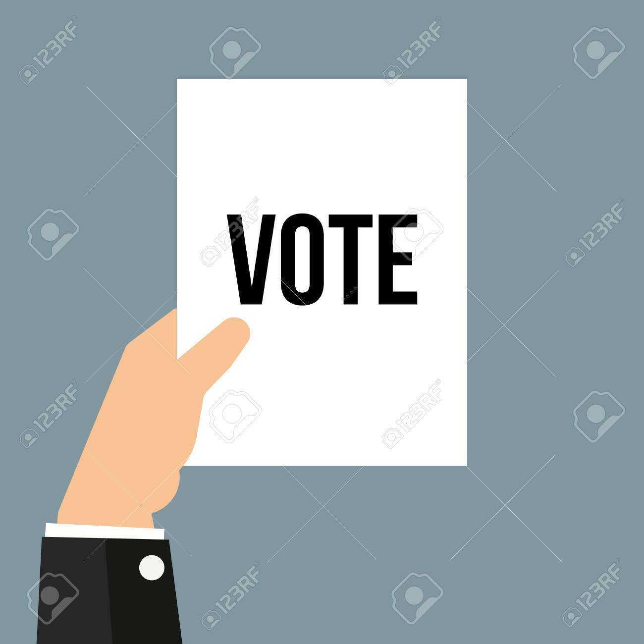 Man showing paper VOTE text. Vector illustration - 112365352
