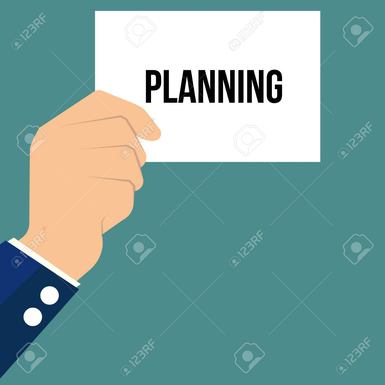 Man showing paper PLANNING text. Vector Illustration - 112311442